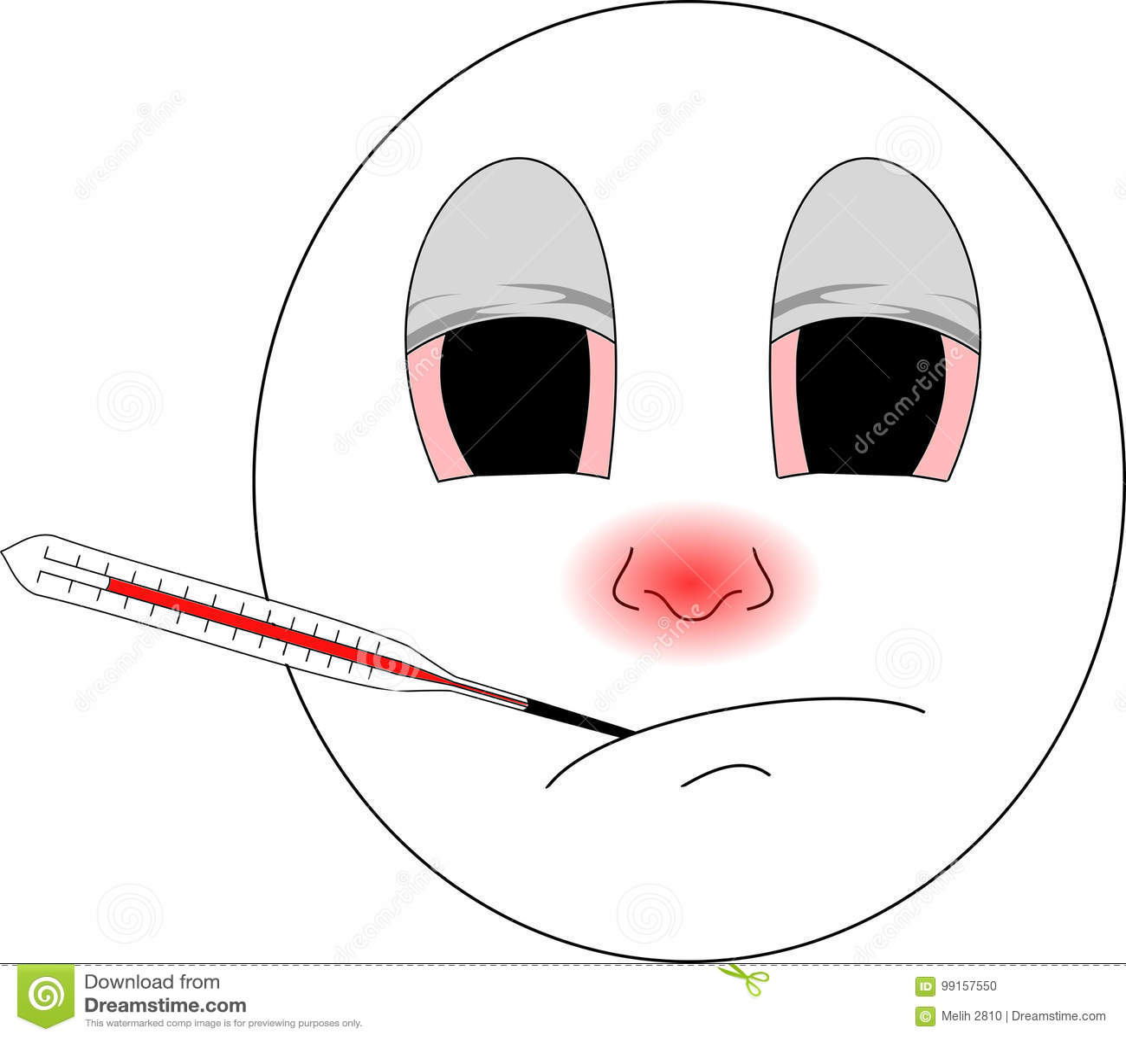 Chory emoji z czerwonym nosem i termometrem łapał zimno dobrych isn ` t czuć i