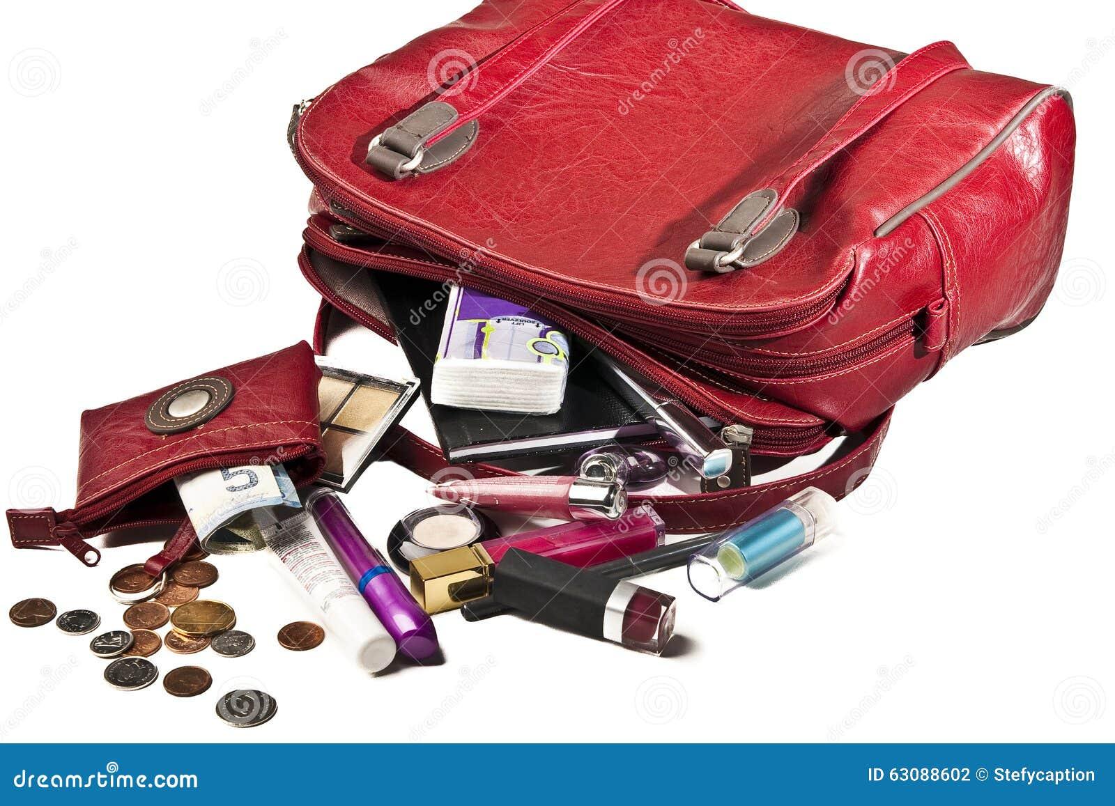 Download Choses Nécessaires Dans Le Sac à Main Rouge De Femme Photo stock - Image du cosmetics, credit: 63088602