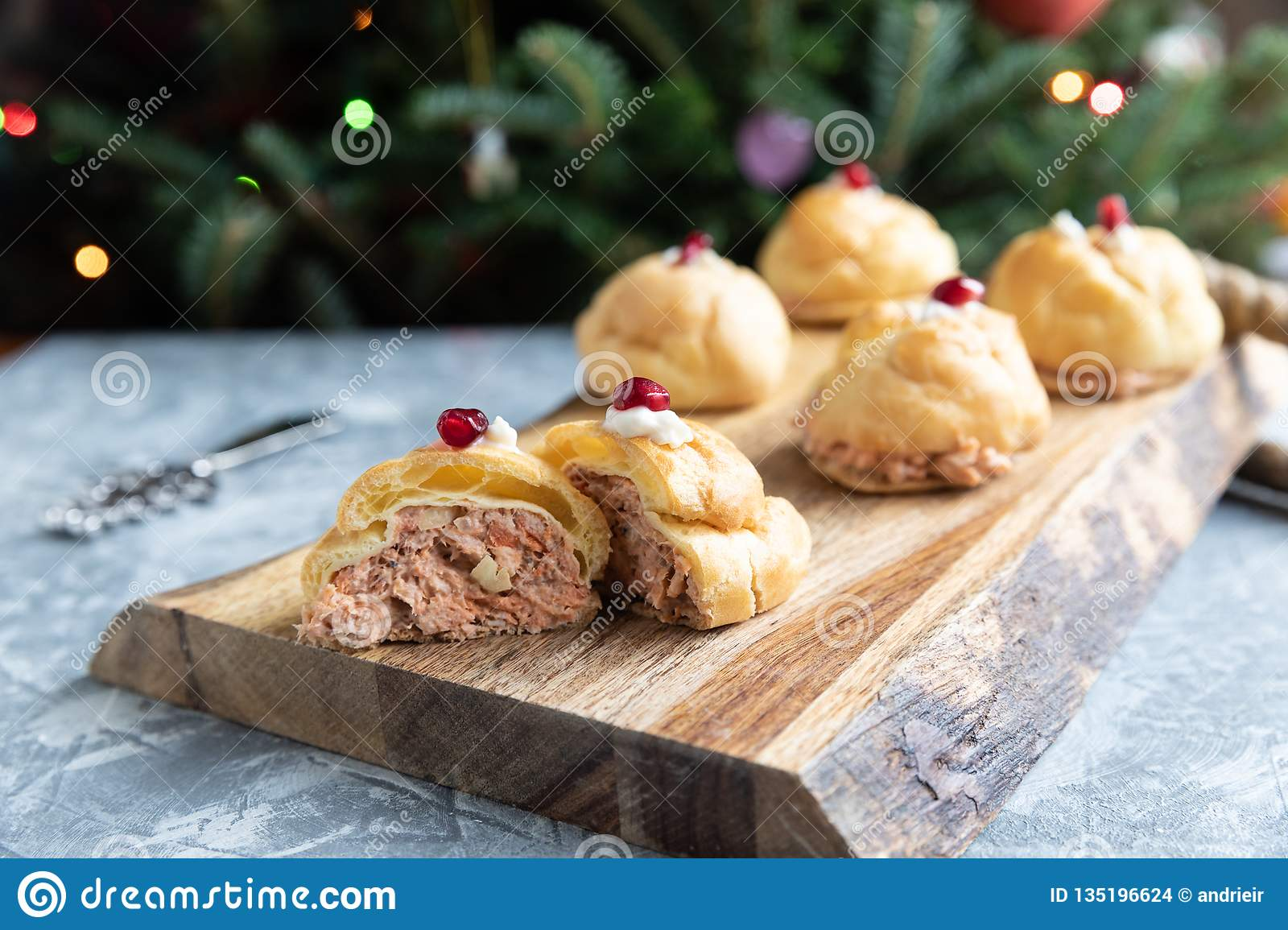 Choux Pastry Stuffed With Salmon Stock Photo Image Of Choux Docoration 135196624