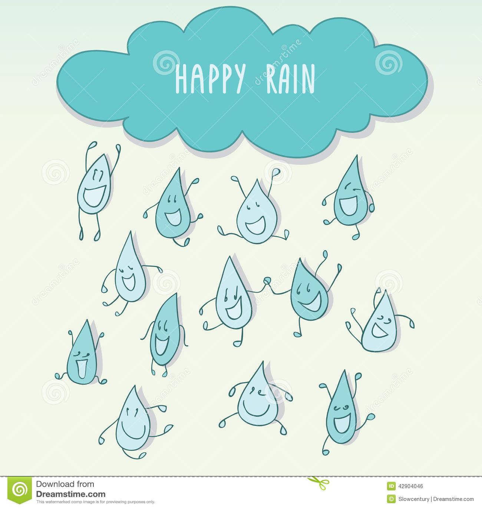 Chover com os pingos de chuva engraçados felizes