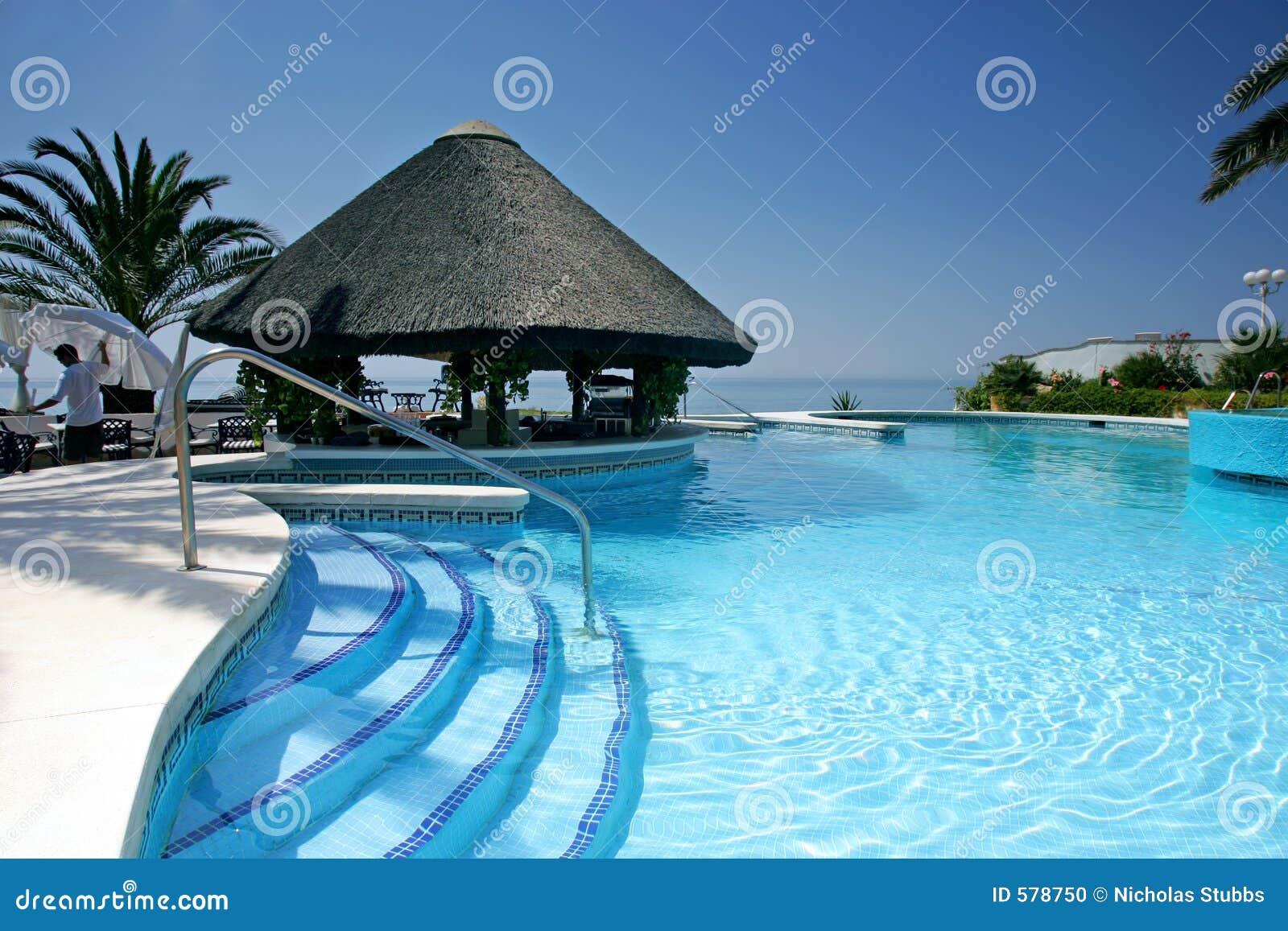 Choza y barra de tiki por la piscina del hotel de lujo for Hotel piscina