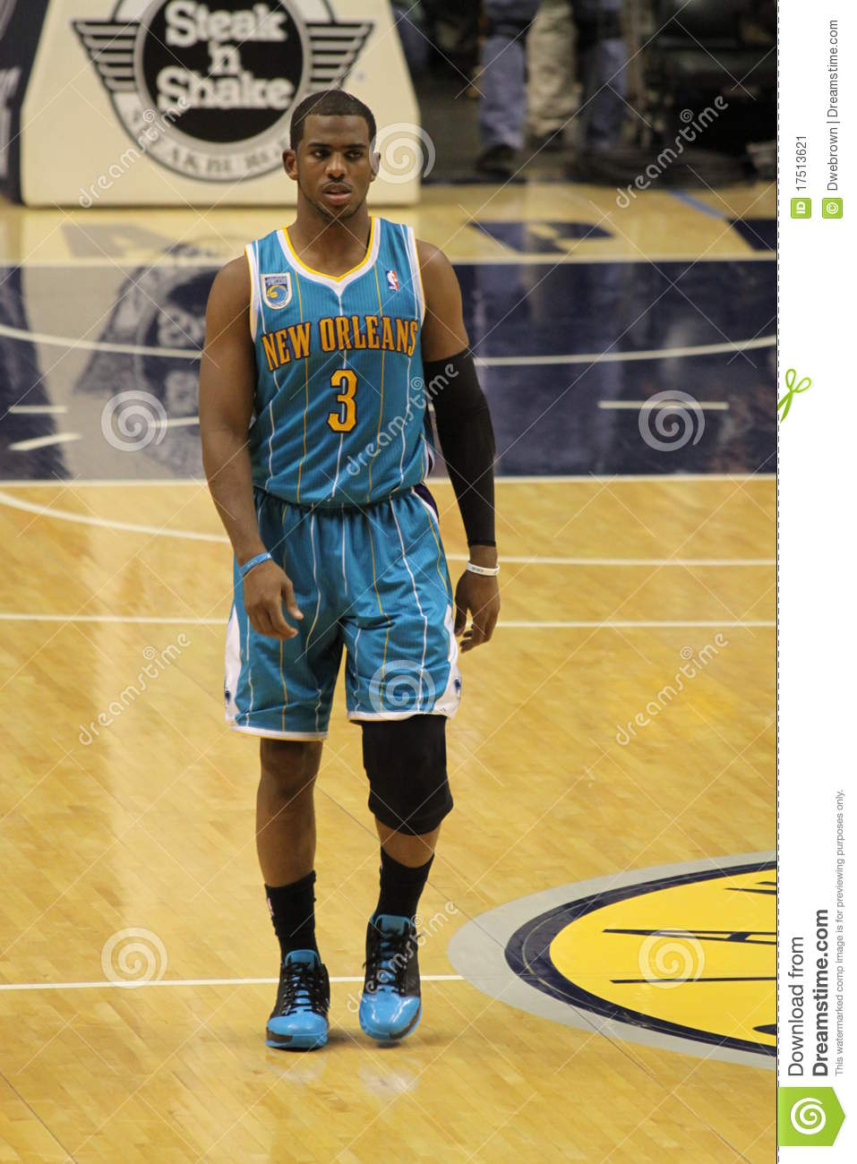 chris paul new orleans hornets midcourt editorial photo