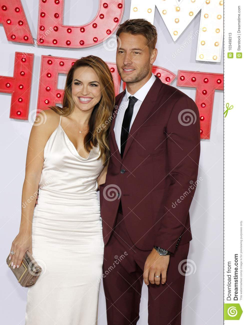 A Bad Moms Christmas Justin Hartley.Chrishell Stause And Justin Hartley Editorial Stock Photo