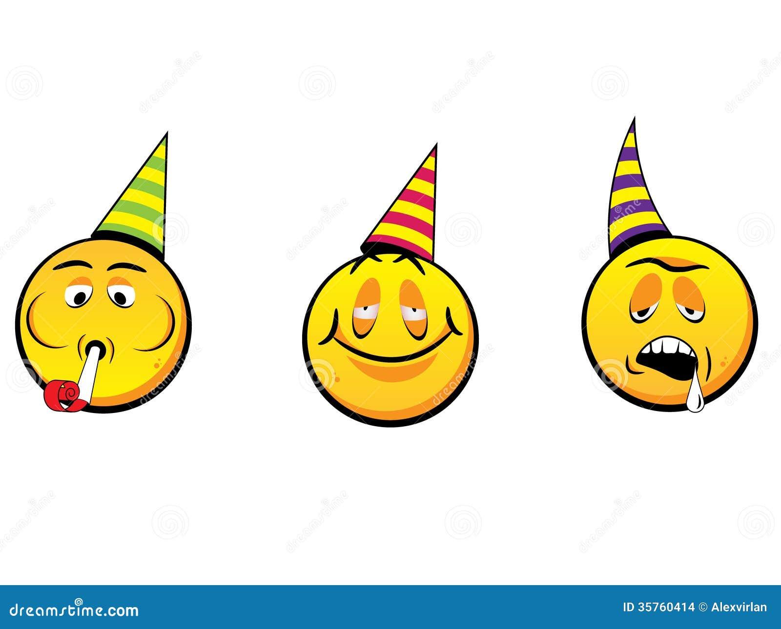 Party smiley faces Drunk Emoticon