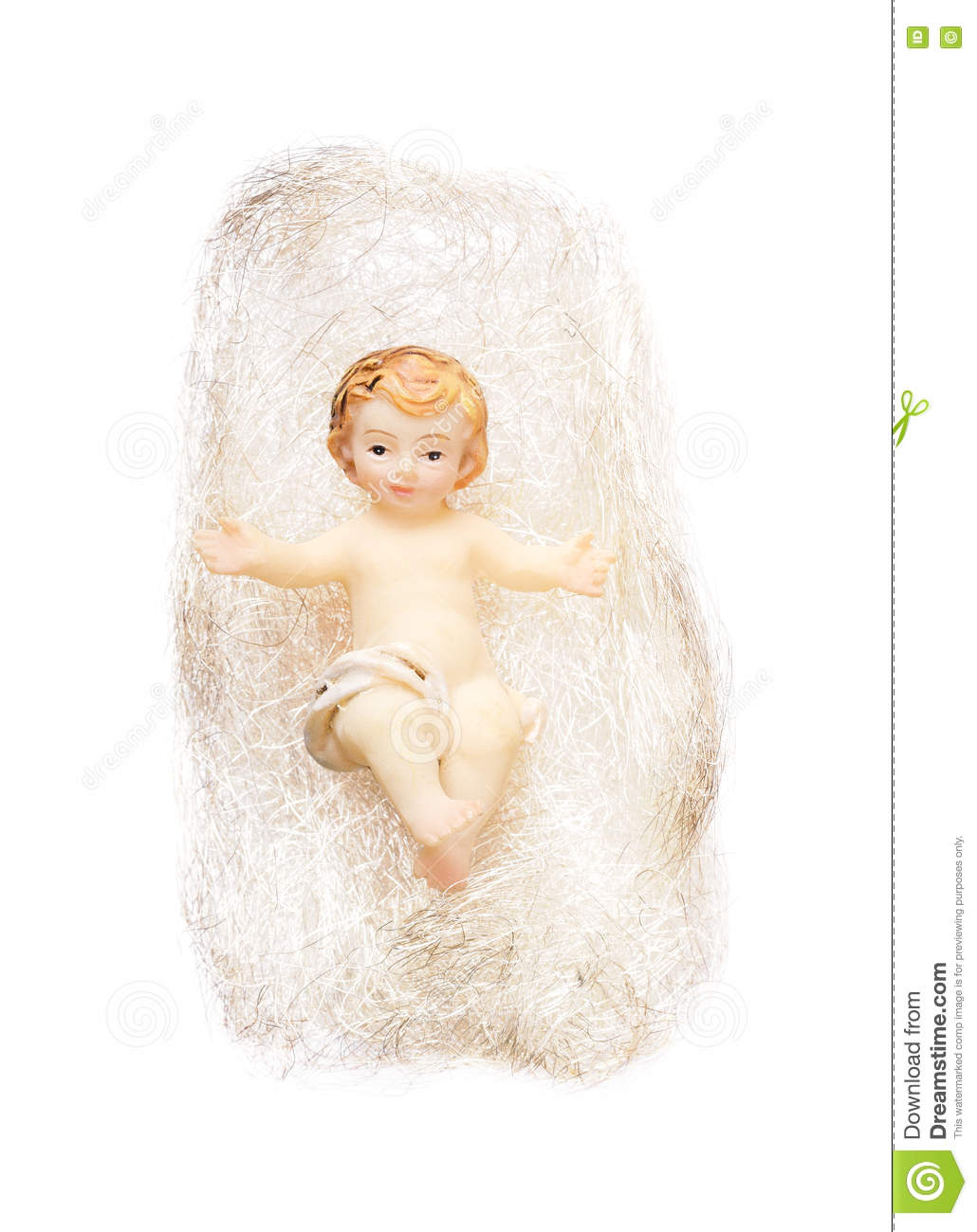 Angel Hair Christmas Tree Decoration.Christ Child Figurine In Angel Hair On White Background