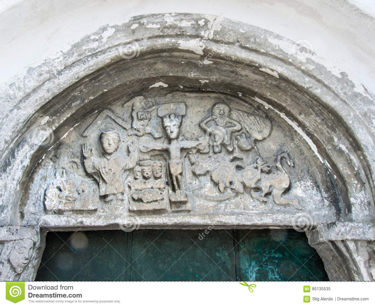 Christ on the cross tympanum from th century stock
