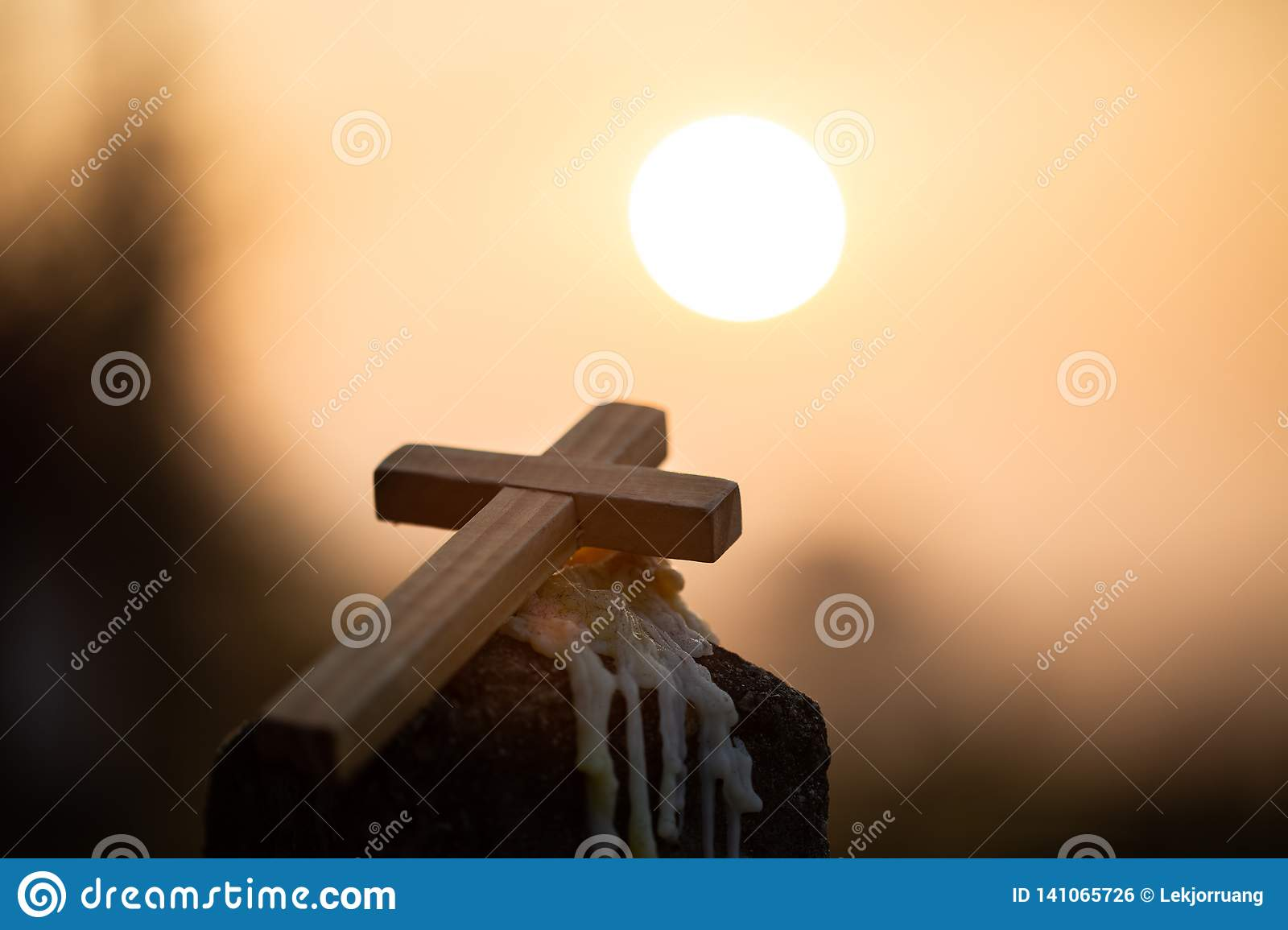 Christ Jesus Cross In The Sunrise Colored Sky Background Worship Religious Concept Eucharist Therapy Bless God Helping Stock Photo Image Of Friday Easter 141065726