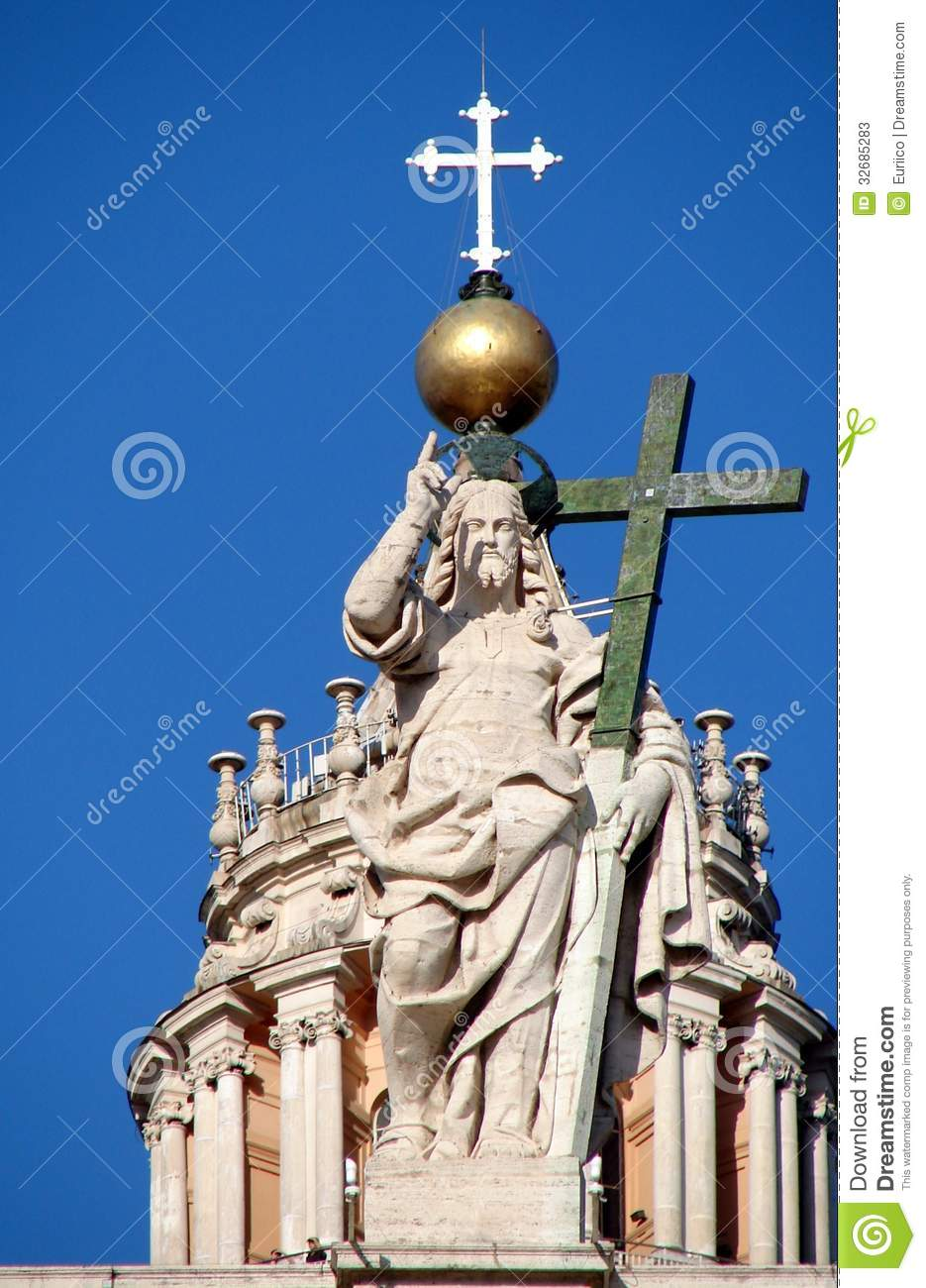 Christ the Redeemer on the balustrade of St Peters Basilica