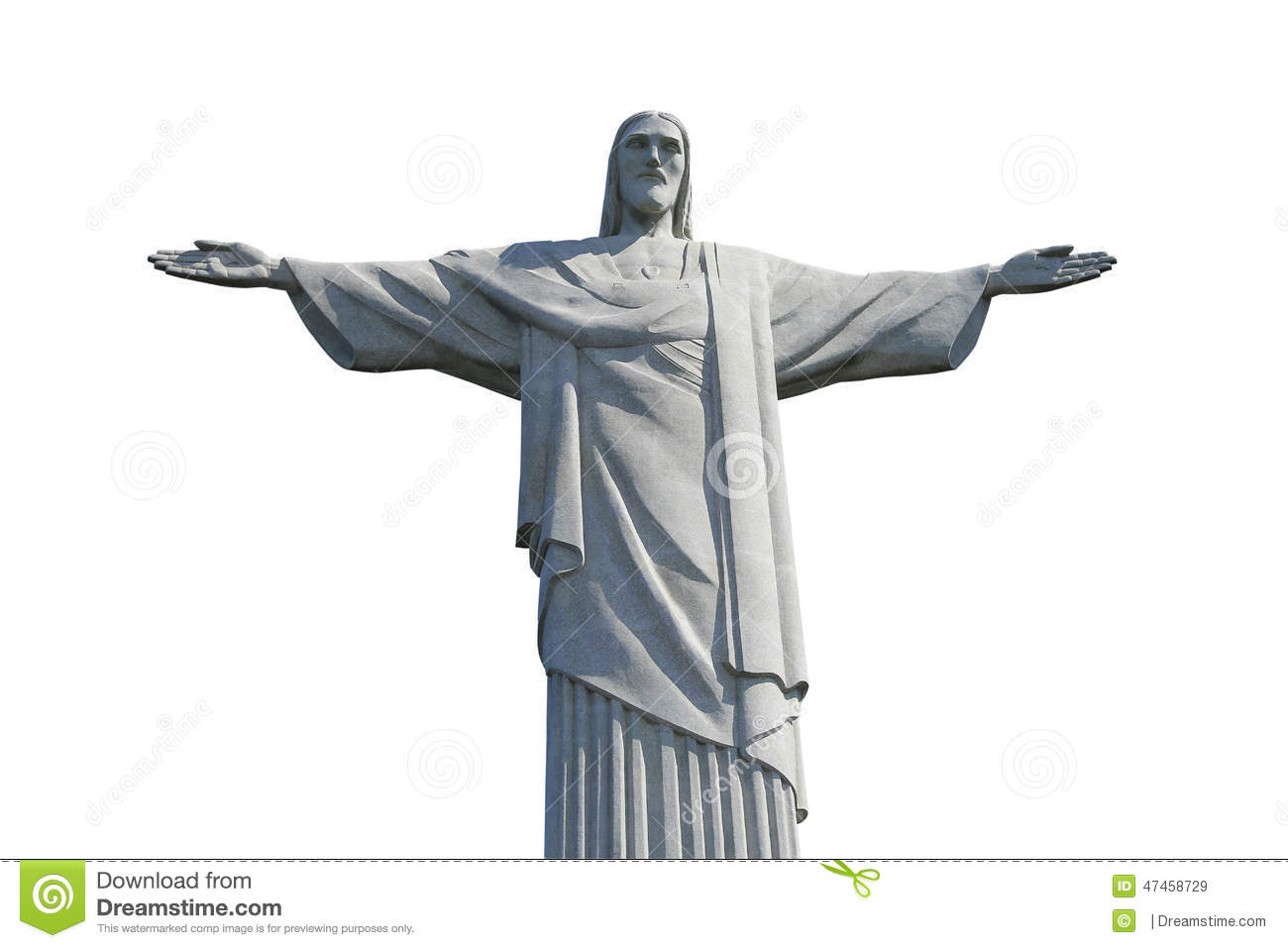 Christ The Redeemer Isolated On White Background Stock