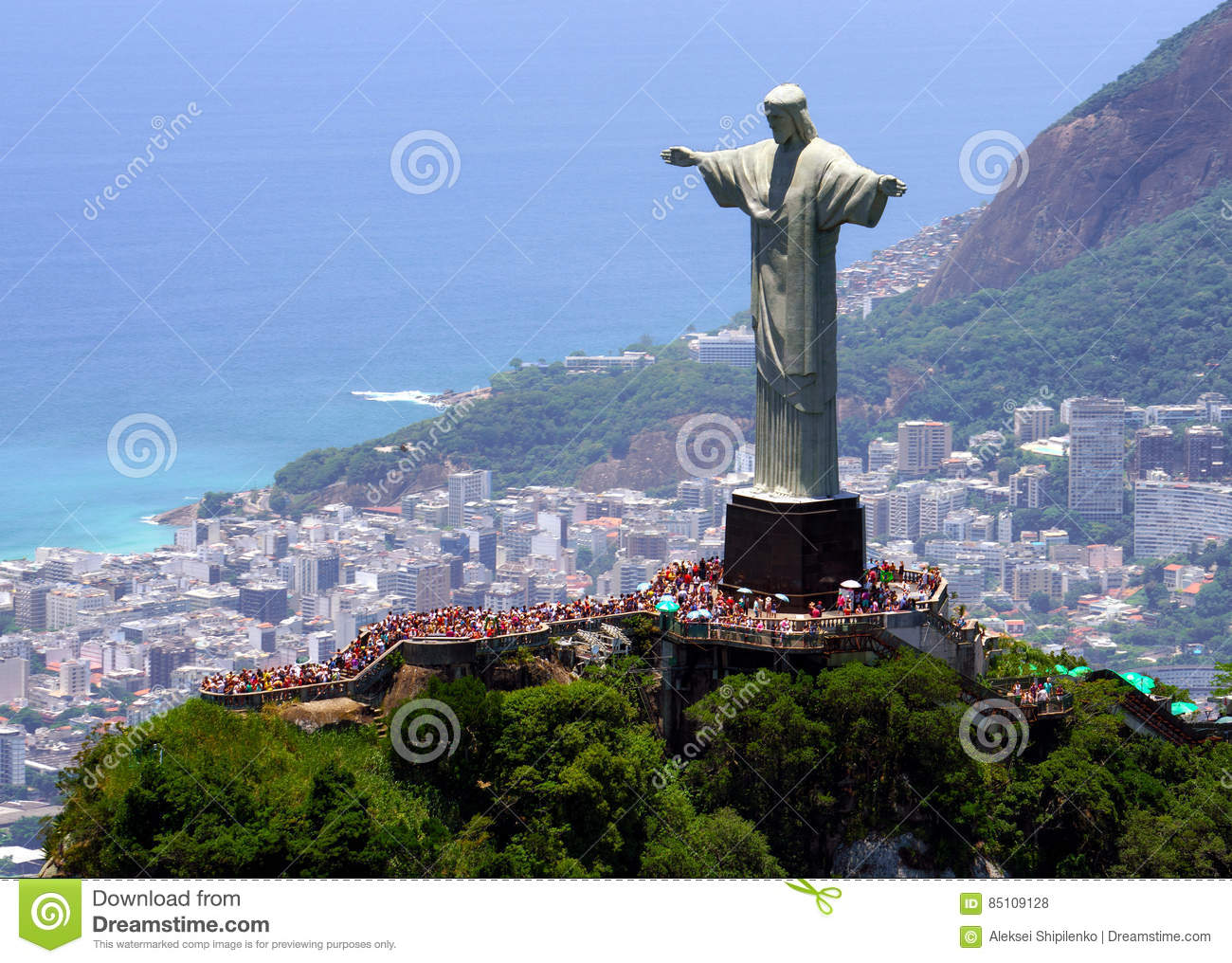 Christ the Redeemer in Rio de Janeiro from helicopter : brasil