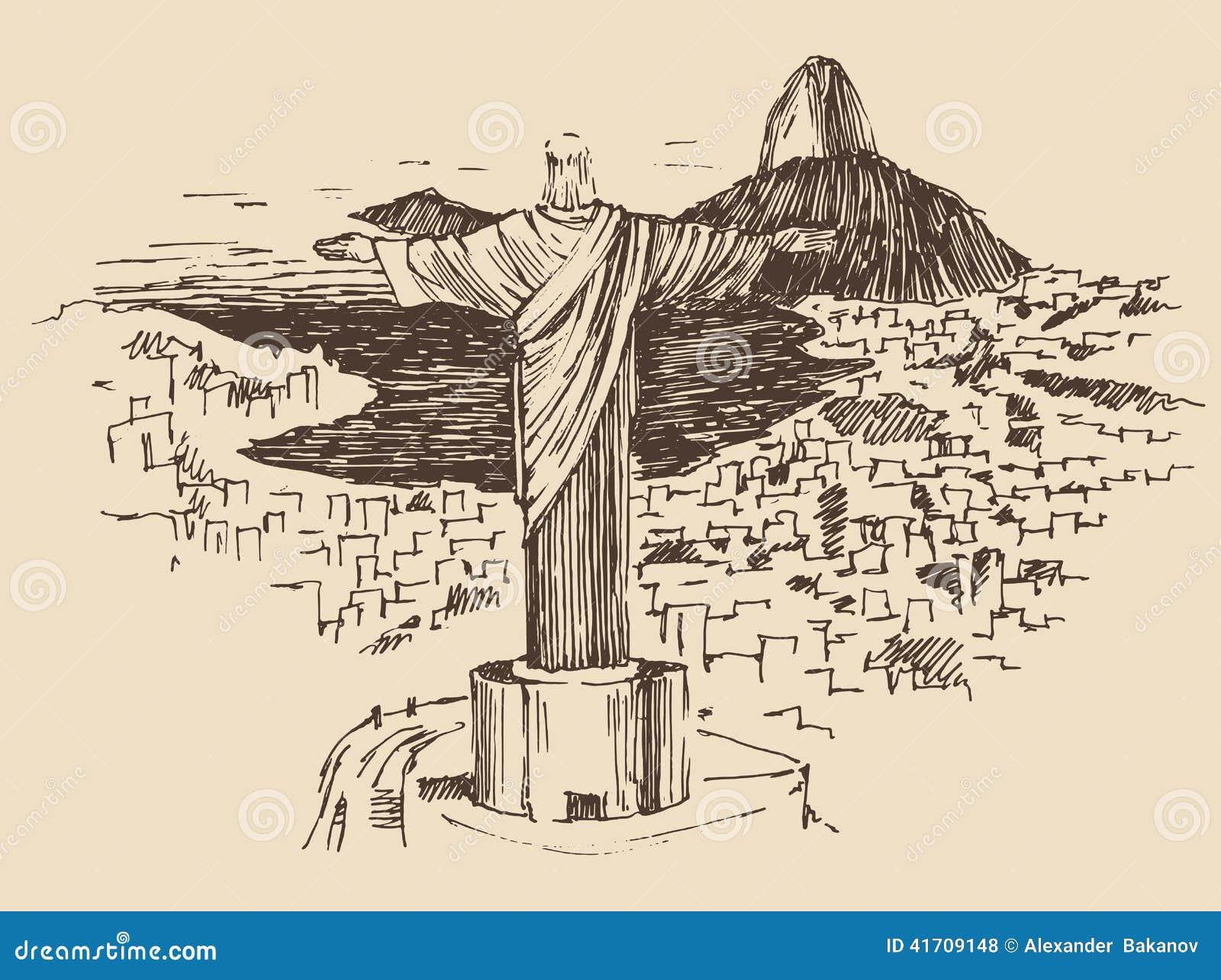 Christ The Redeemer Rio De Janeiro City, Brazil Stock Vector - Image ...