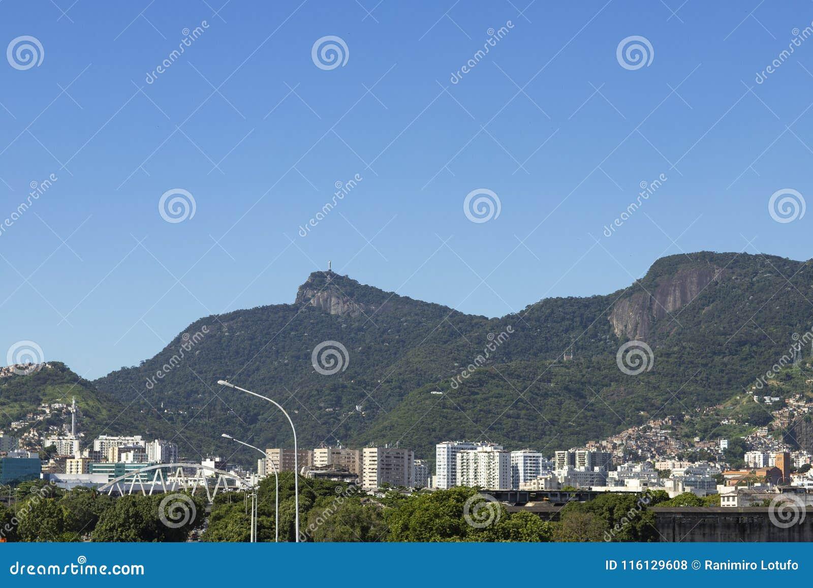Christ Redeemer seen from afar in Rio de Janeiro, Brazil