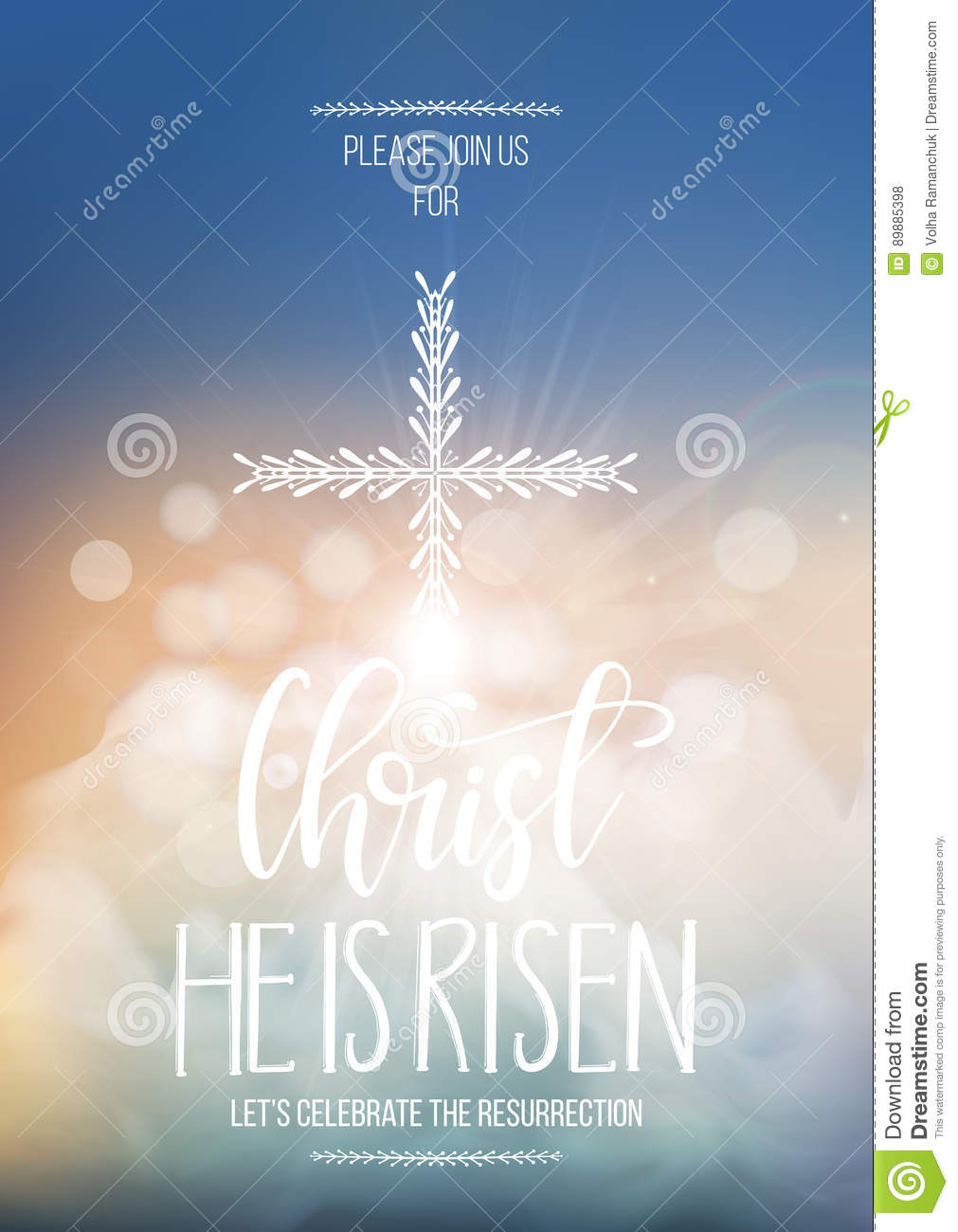 christ he is risen easter religious poster template stock