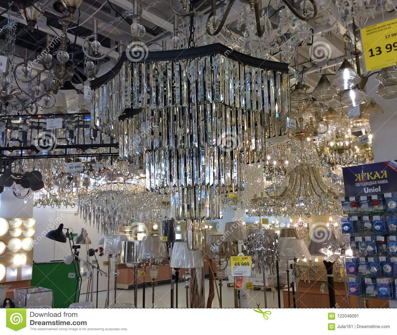Christal chandeliers in home lighting shop