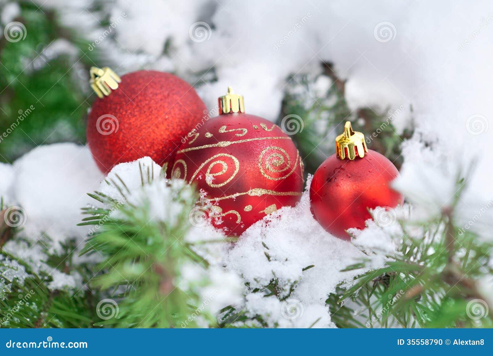 Christamas background decor ball on snow