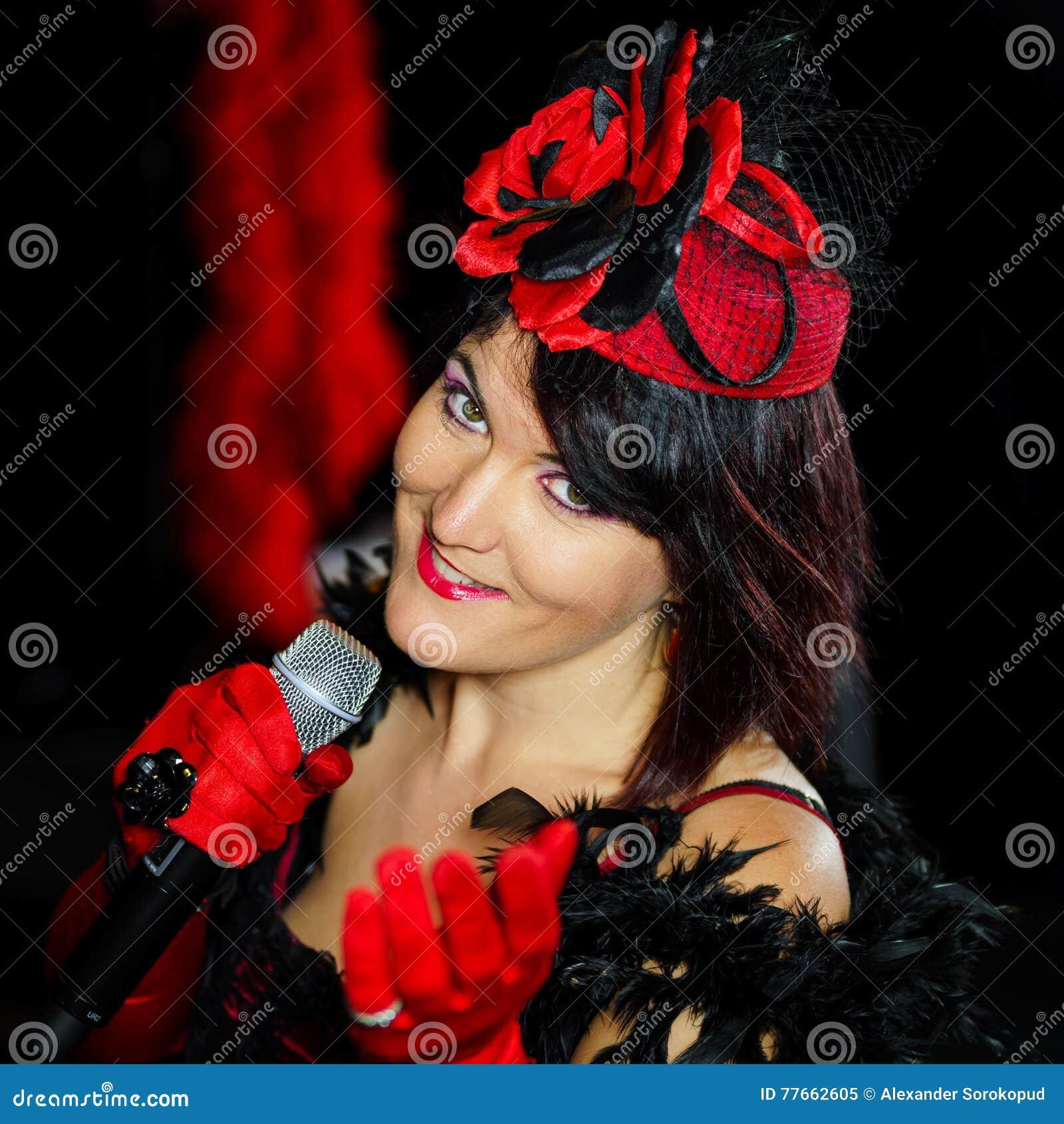 Christel Kern die chanson zingen Portret van Franse actrice scène