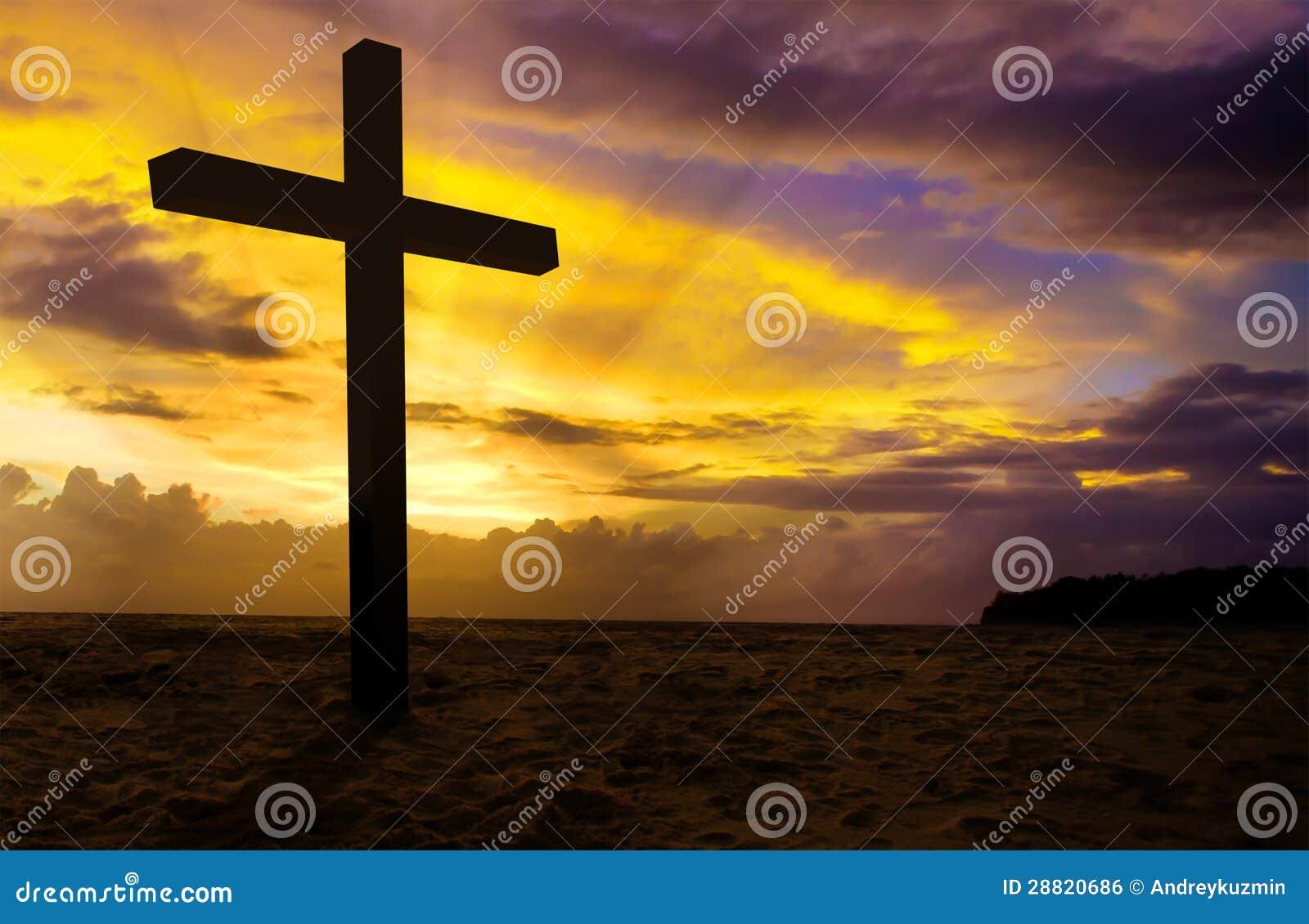 Christelijk kruis op zonsondergang
