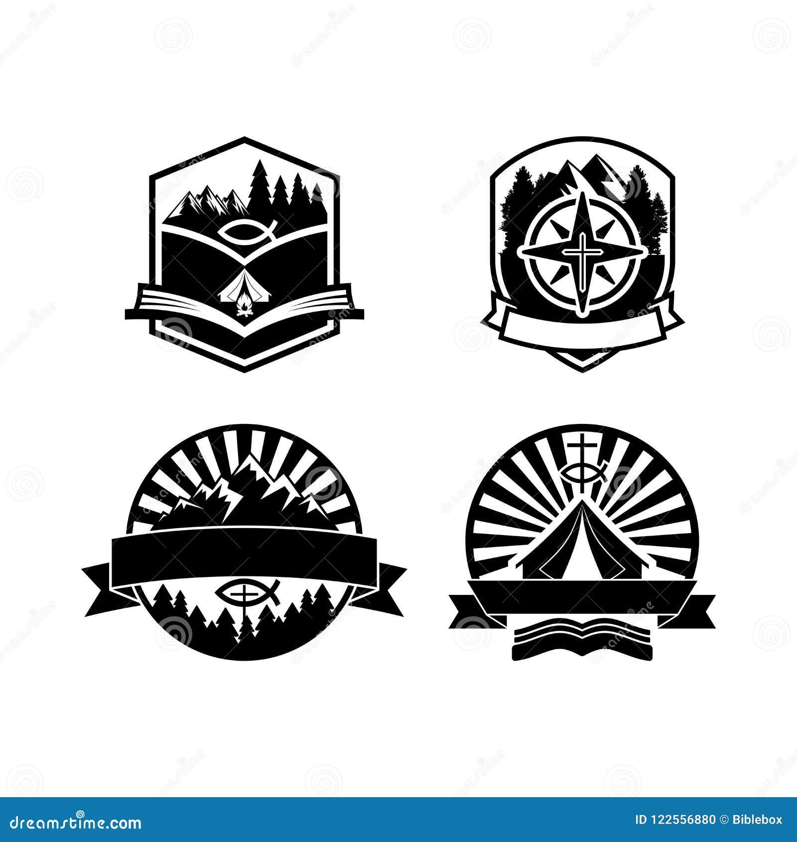Christelijke de kentekensemblemen en etiketten van het de zomerkamp voor om het even welk gebruik, op houten textuur als achtergr