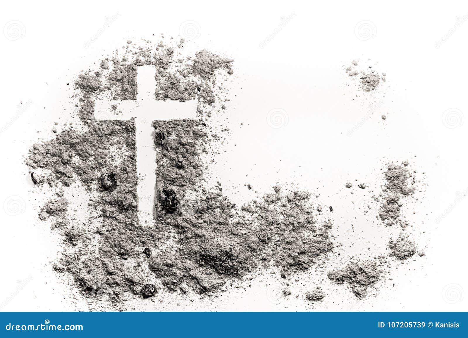 Christelijke kruis of kruisbeeldtekening in as, stof of zand