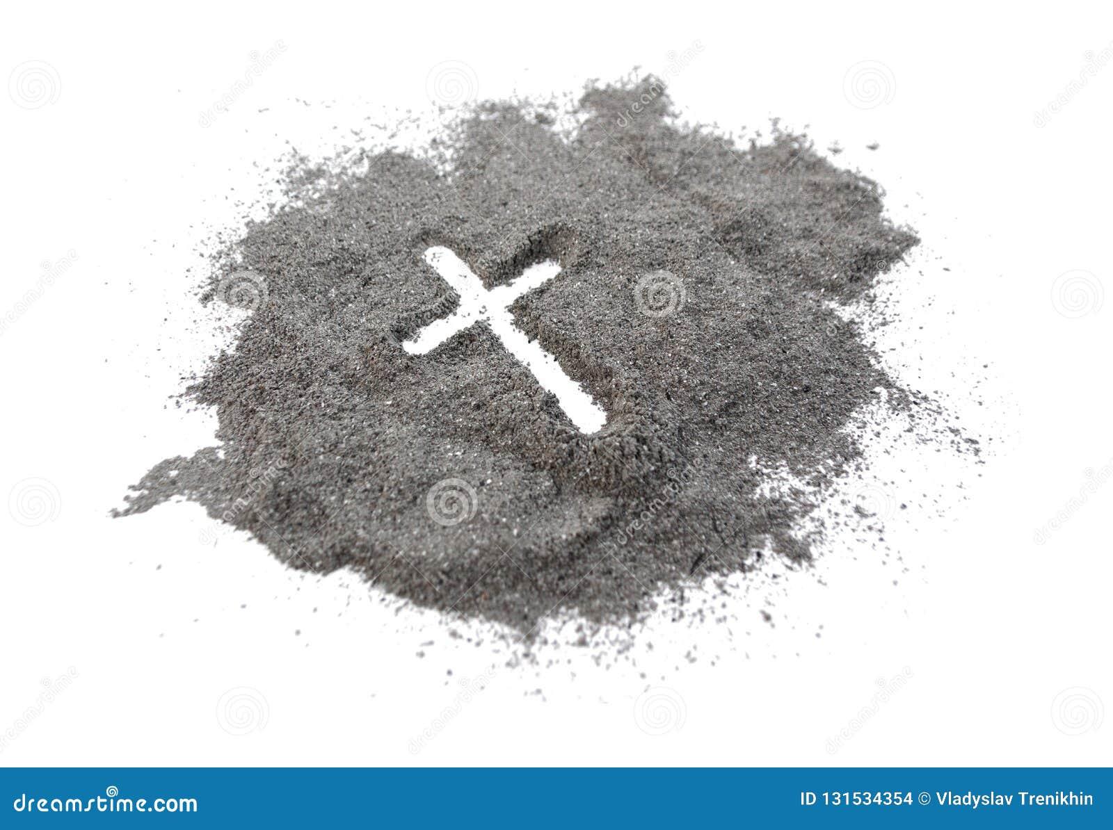 Christelijke kruis of kruisbeeldtekening in as, stof of zand als symbool van godsdienst, offer, redemtion, Jesus Christ, aswoensd
