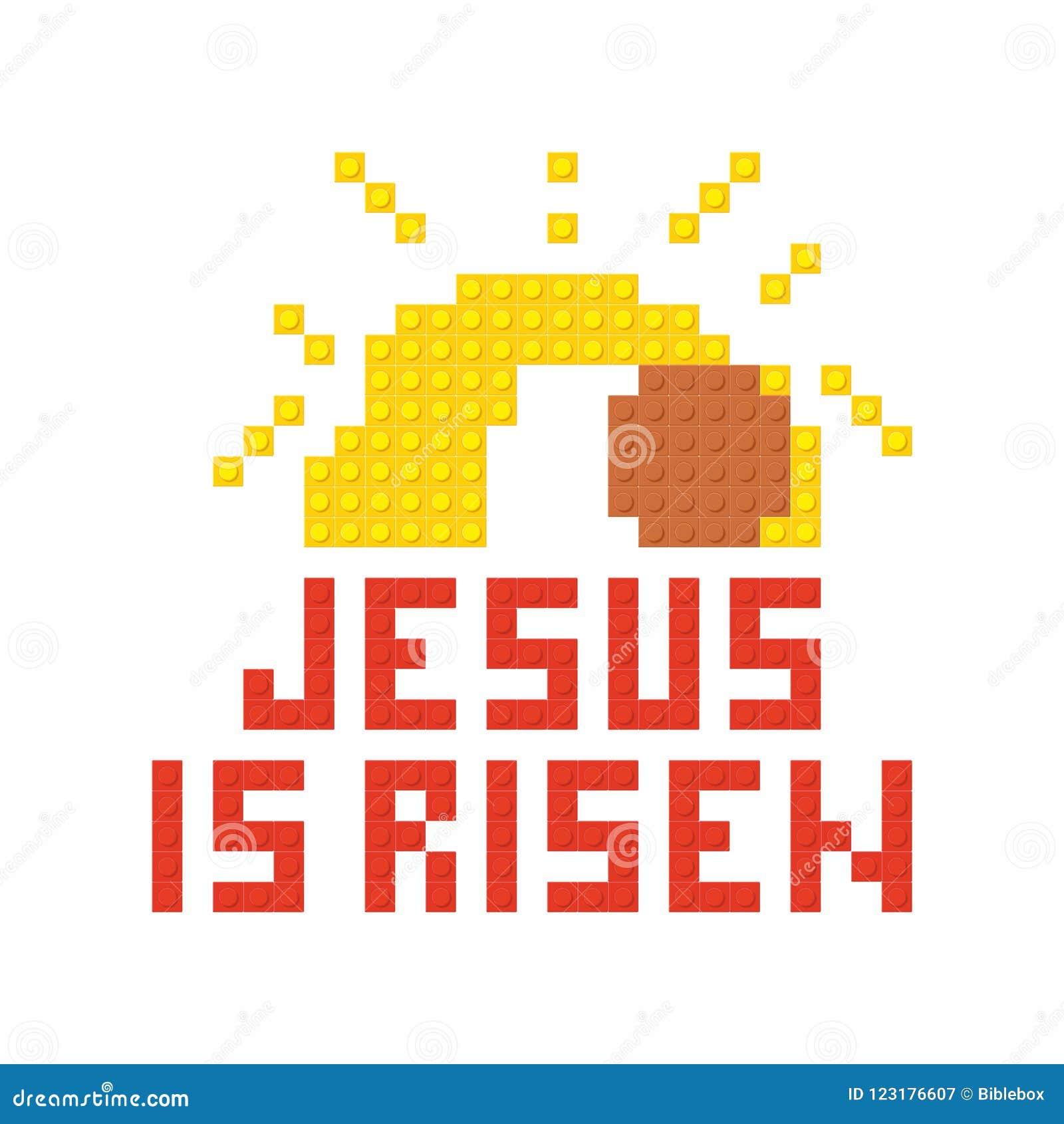 Christian Art Briques en plastique de verrouillage colorées, construction en plastique Jésus est levé