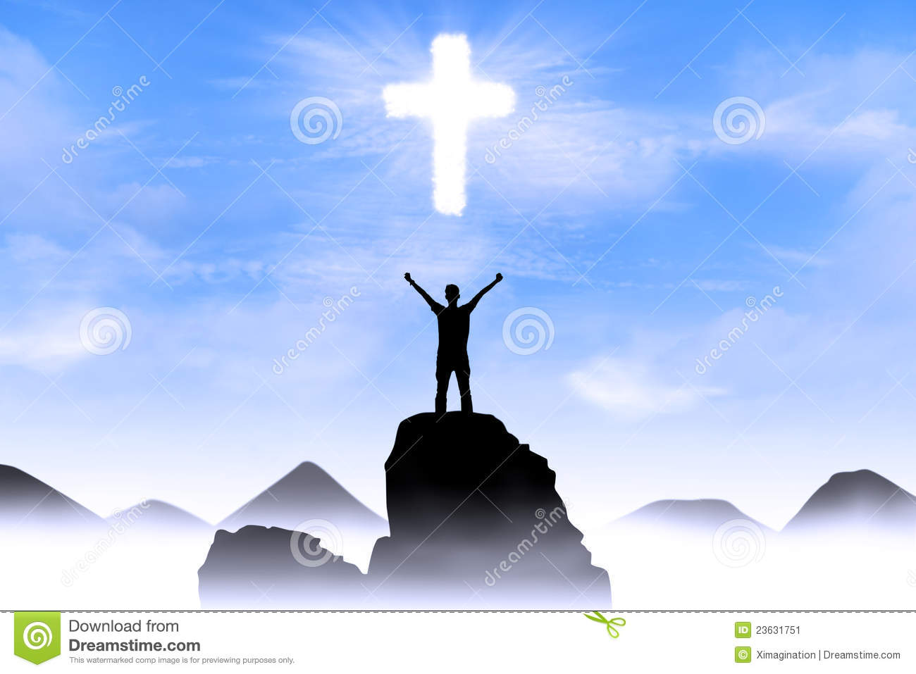 Christian background: Man worshiping God