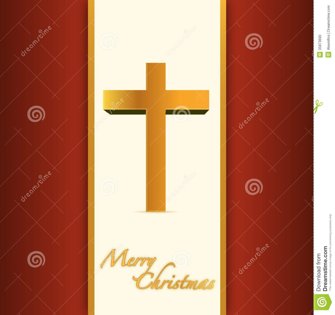 Christian Or Catholic Merry Christmas Card. Stock Illustration ...