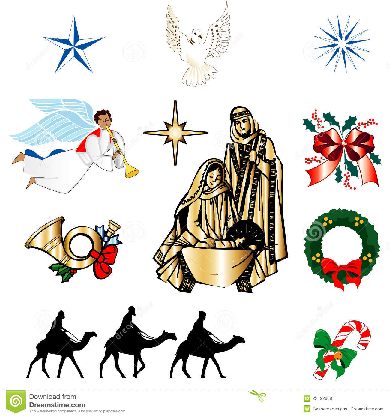 Set of ten christmas or holiday icons vector illustration