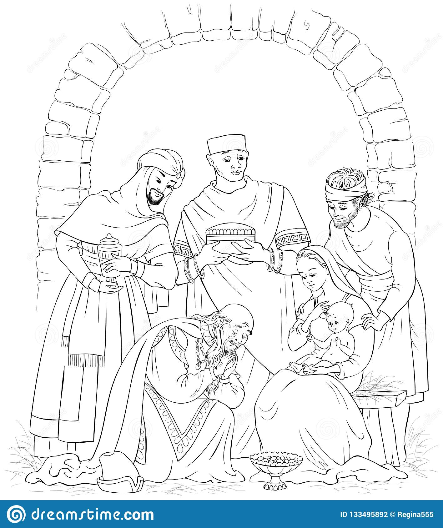 Christian Christmas Nativity Scene Coloring Page Jesus Mary Joseph And The Three Kings Stock Vector Illustration Of Isolated Christ 133495892