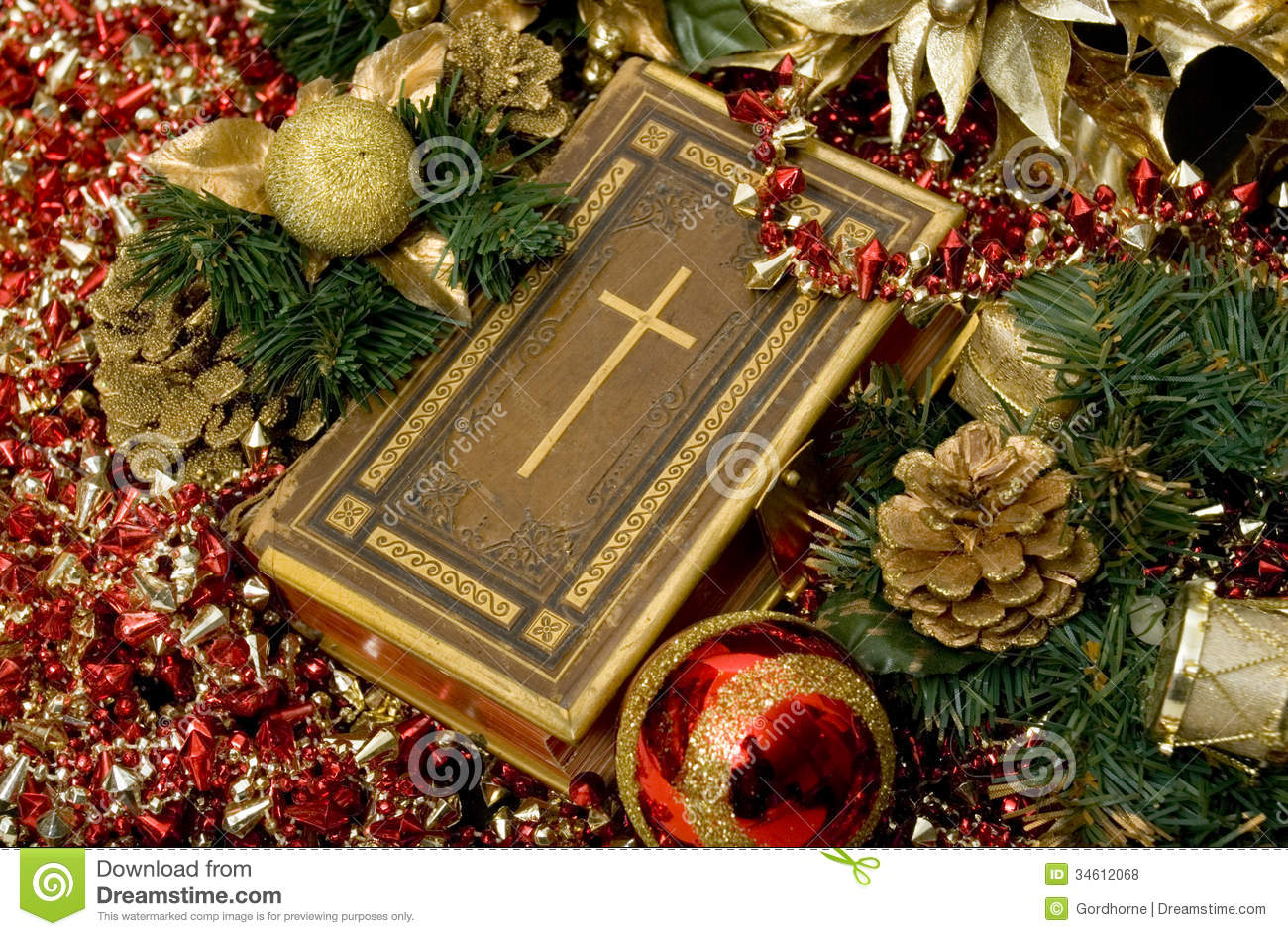 christian christmas selective focus bible surrounded ornaments 34612068