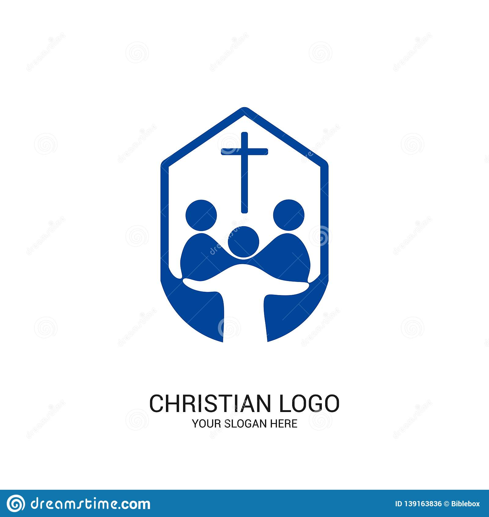 Christian church logo. Bible symbols. Community of believers in Jesus Christ