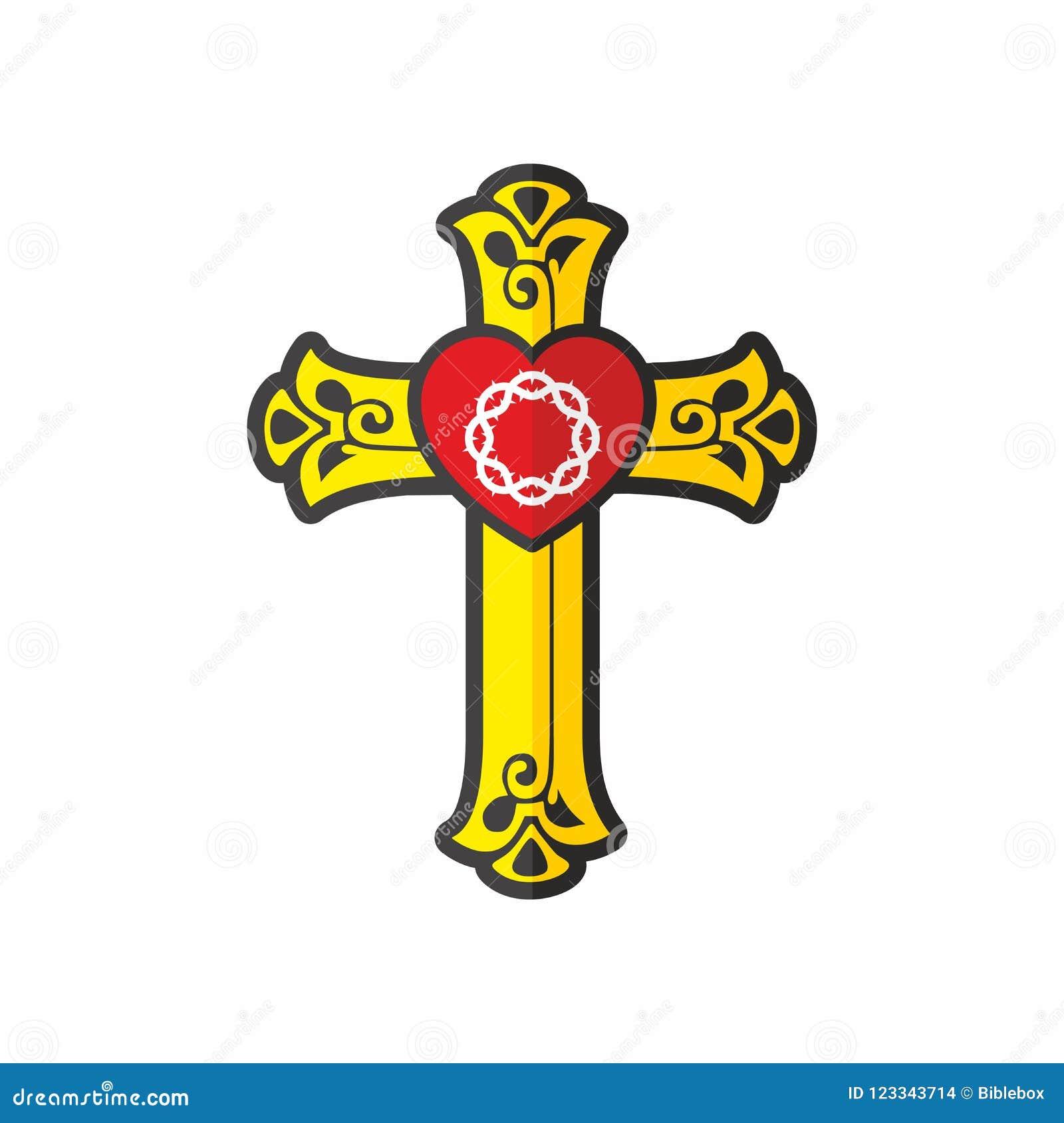 Christian Church Logo Cross Heart And Crown Of Thorns Stock Vector