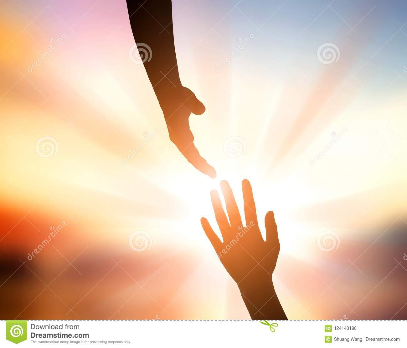 International Peace Day Concept: God`s hand for help