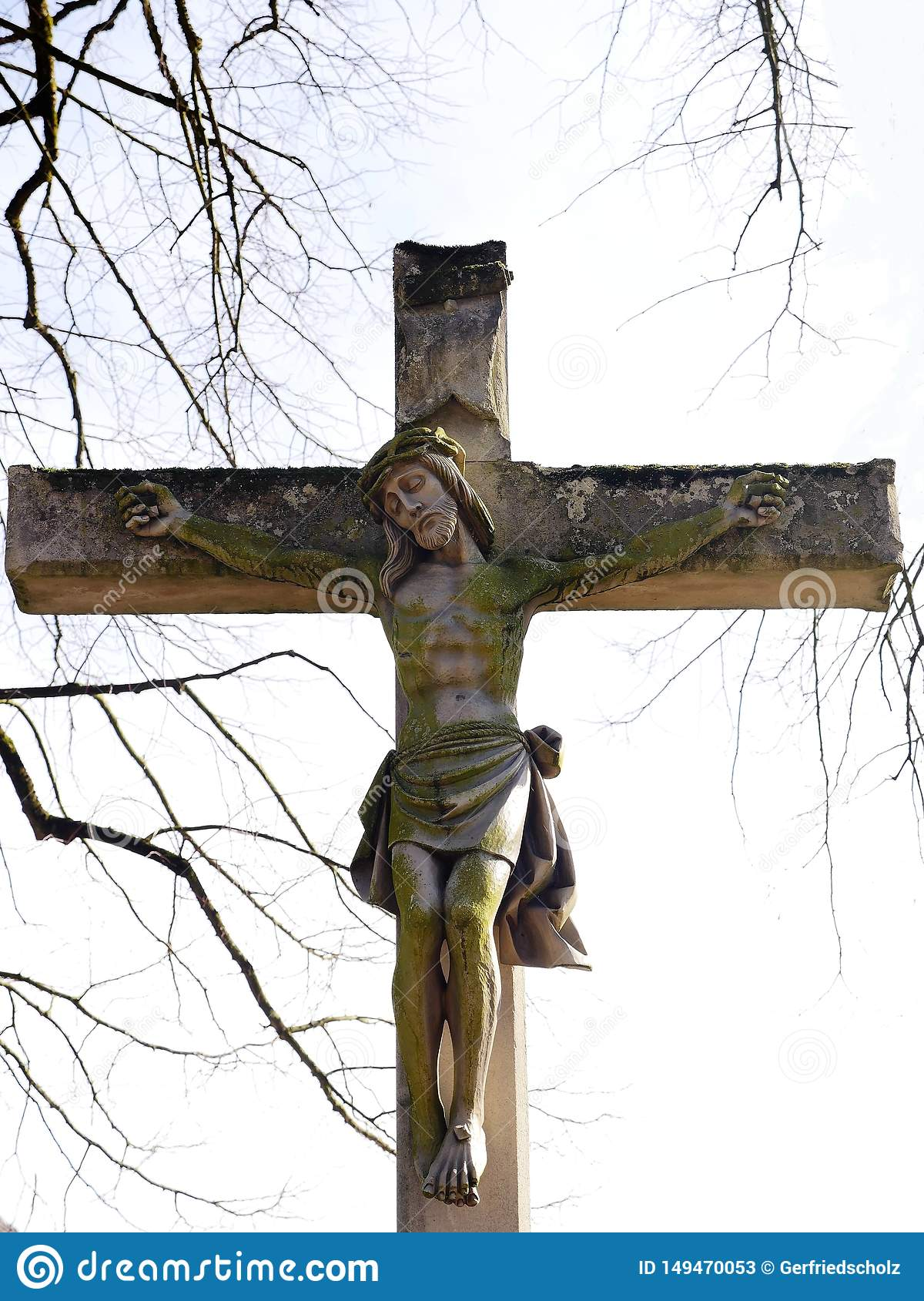 This Christian cross, with crucified Jesus, a symbol of piety, was erected in 1889 by Countess Ansembourg