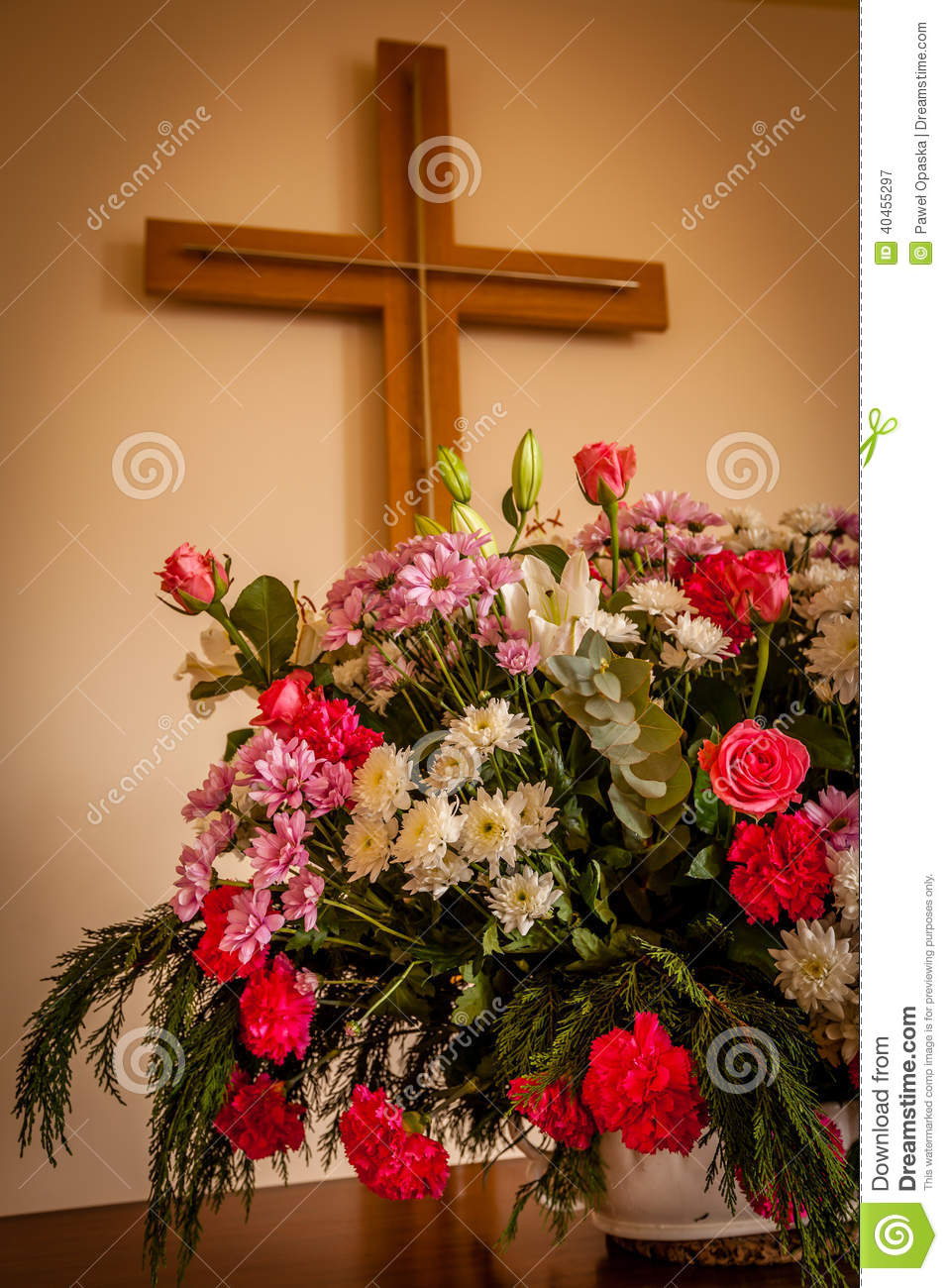 Christian Cross And Flowers On Altar Stock Photo Image