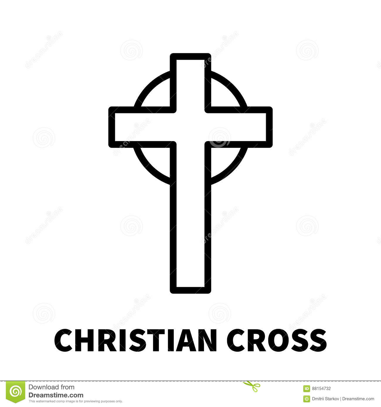 christian cross icon or logo in modern line style  cartoon vector