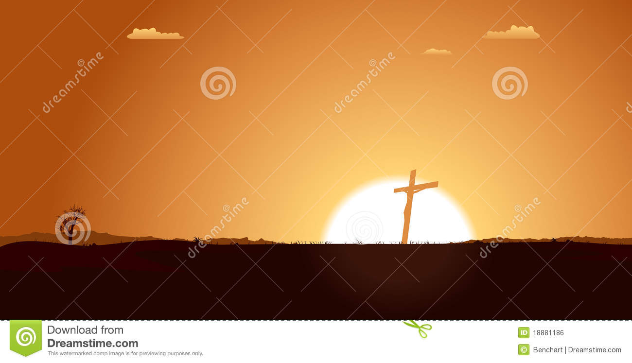 Christian Cross Inside Desert Landscape Royalty Free Stock