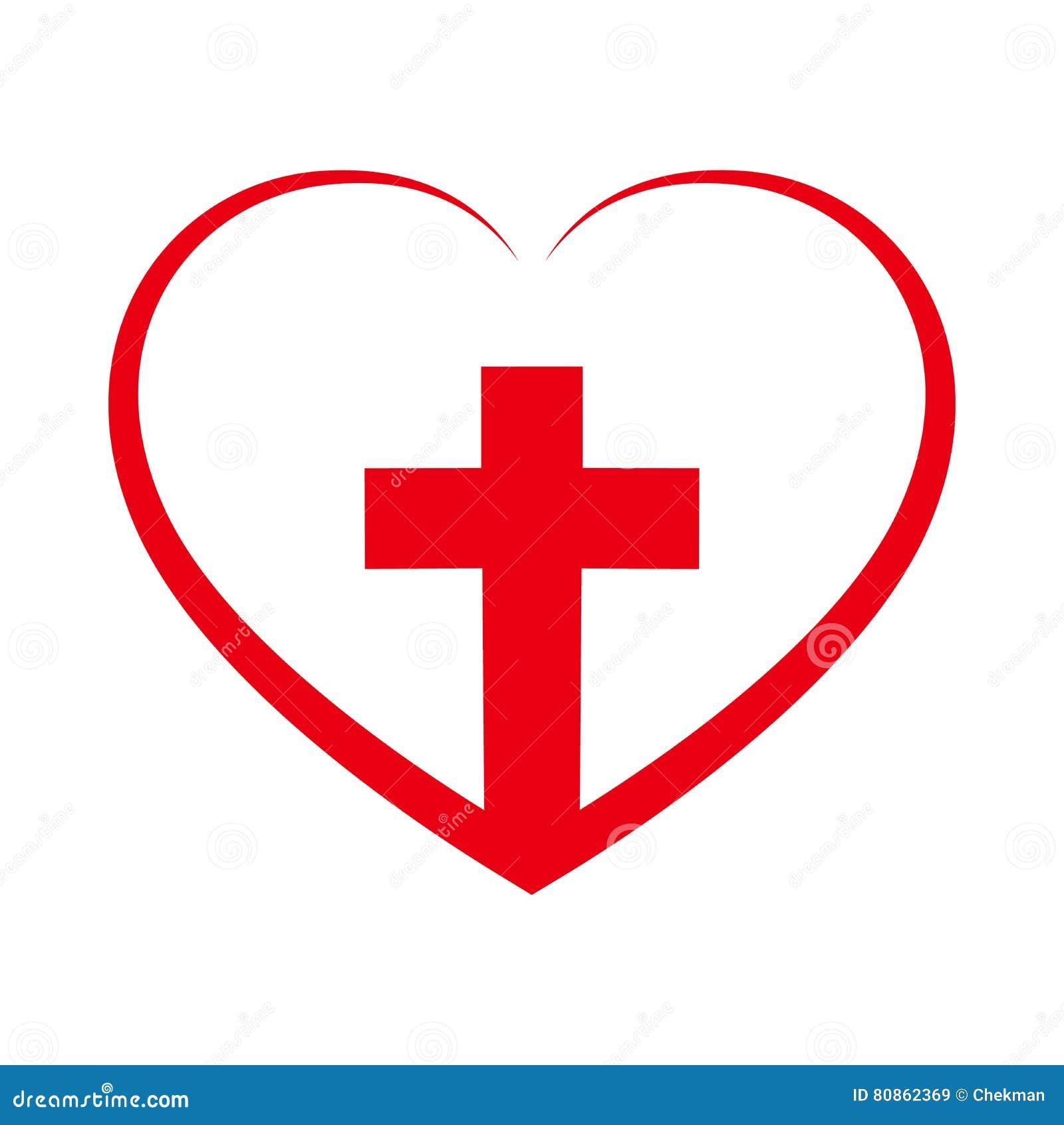 Christian Cross Inside In The Heart. Vector Illustration ... (1300 x 1390 Pixel)