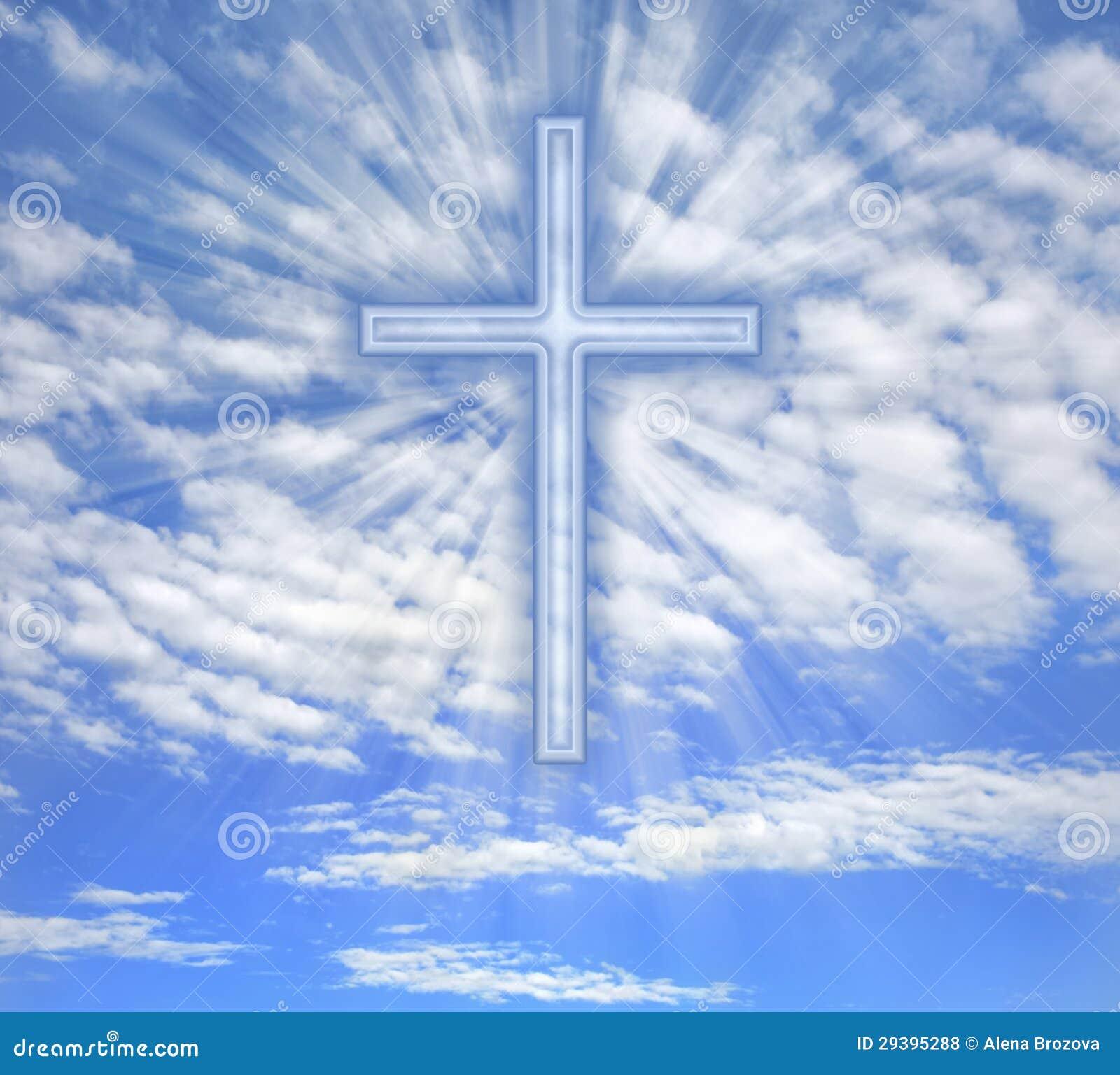 Christian Cross With Light Beams Over Sky Stock