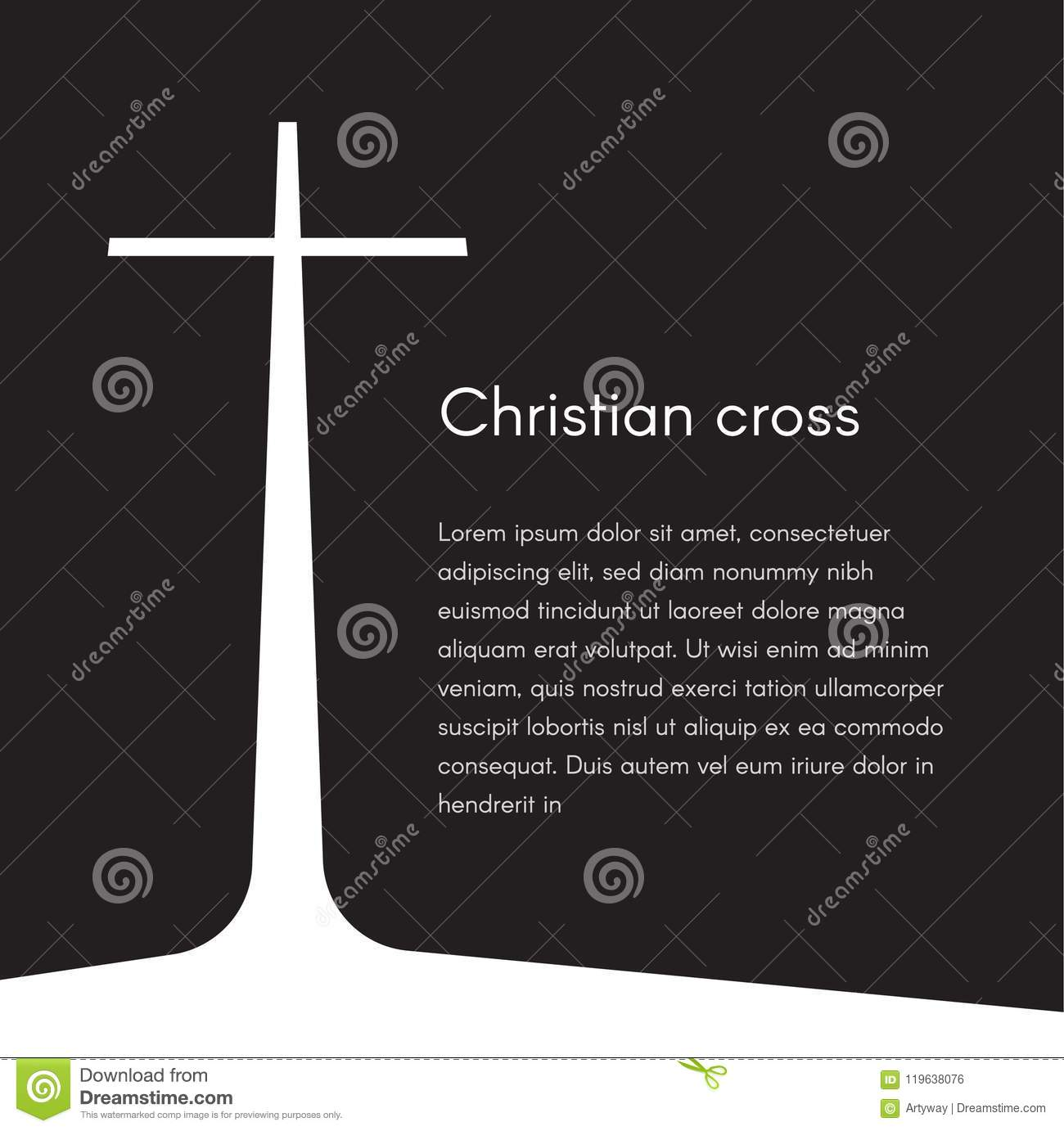 Christian cross silhouette. Religion symbol. White cross on black background with text, vector illustration template for