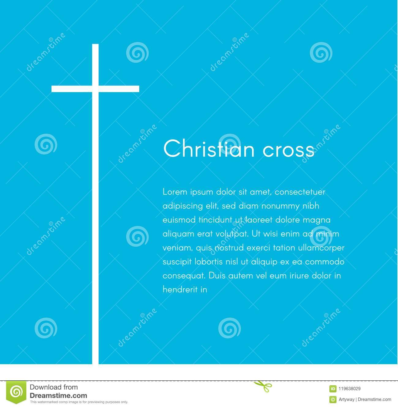 Christian cross silhouette. Religion symbol. White cross on blue background with text, vector illustration template for