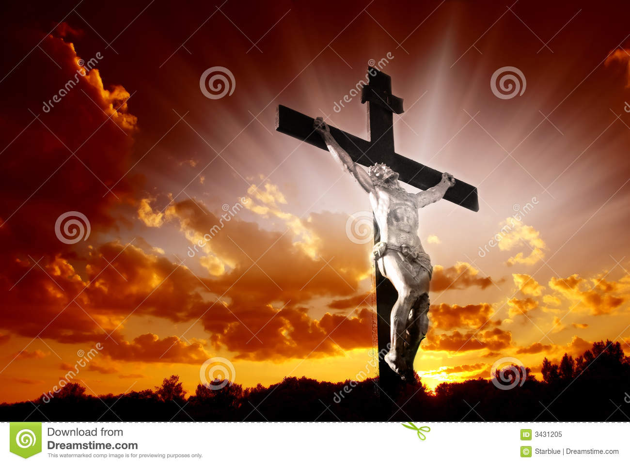 Christian Cross In Sunrise Stock Image. Image Of Religious