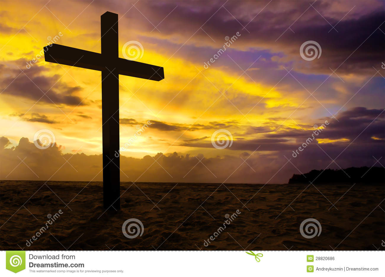 Christian Cross On Sunset Royalty Free Stock Image - Image: 28820686