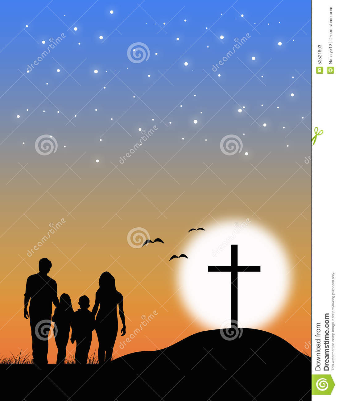 Christian Family At The Cross Stock Illustration - Image: 53521803