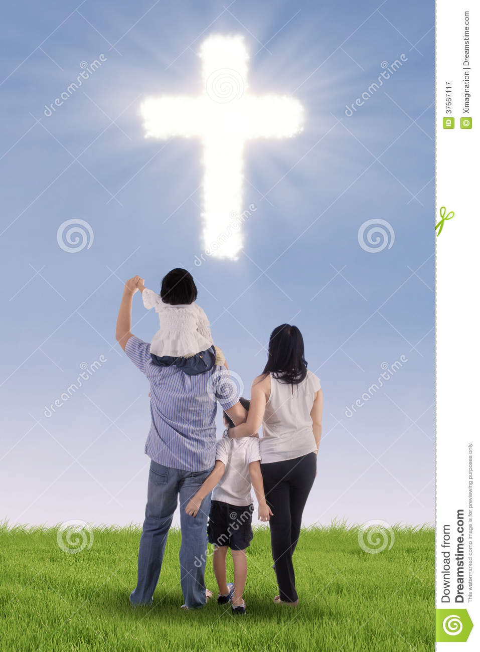 Christian Family With A Cross Royalty Free Stock Photography Image 37667117