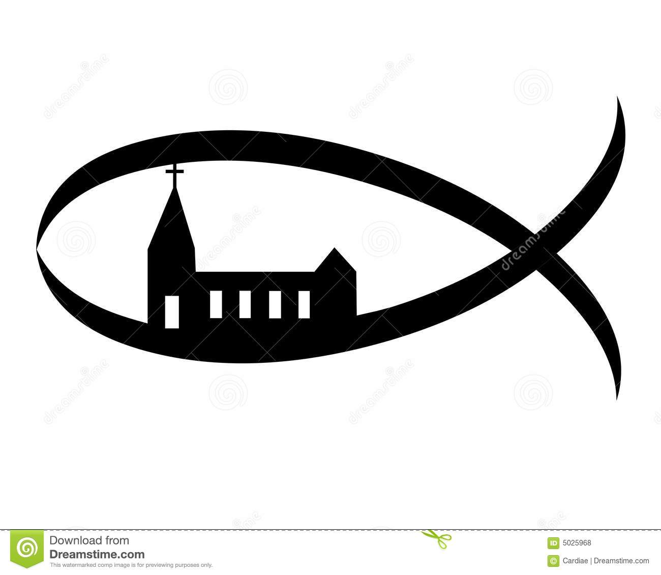 Church and other christian symbol icons set stock vector christian fish church symbol sign royalty free stock photos buycottarizona Image collections