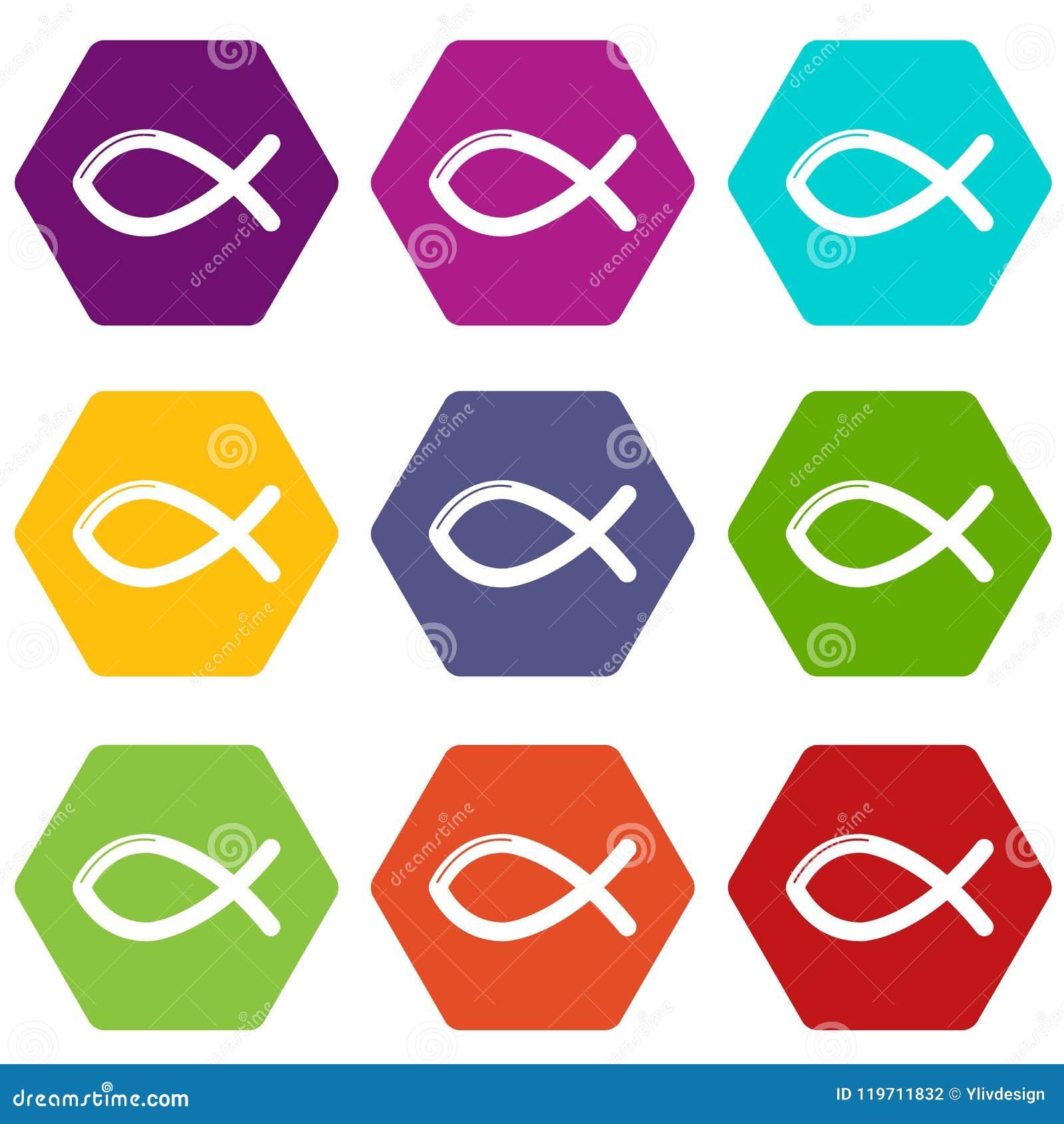 Christian Fish Symbol Icons Set 9 Vector Stock Vector Illustration