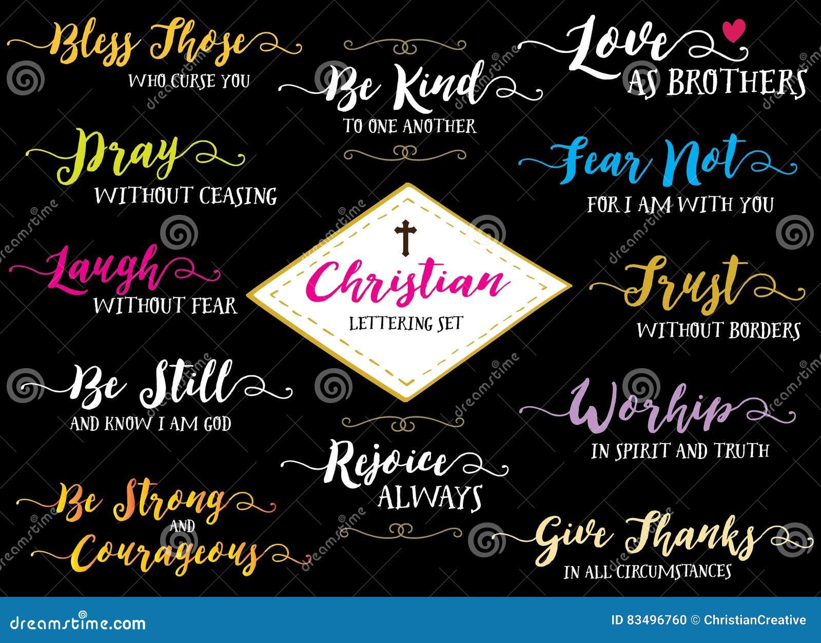 Christian Hand Lettering Vector Set