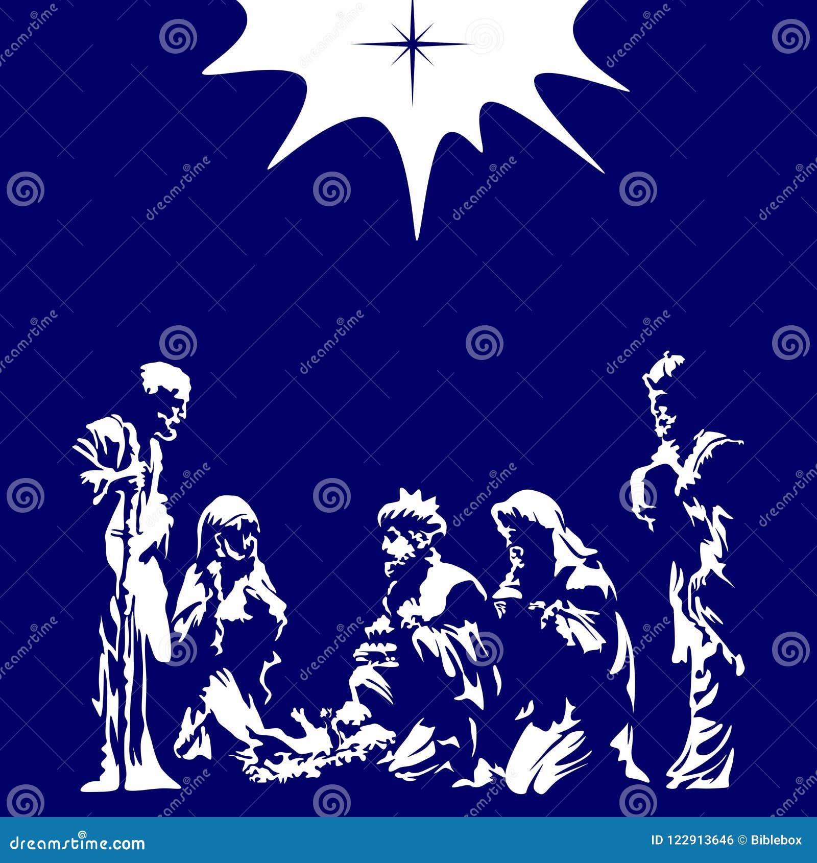 Merry Christmas Christian.Christian Illustration Nativity Scene Merry Christmas