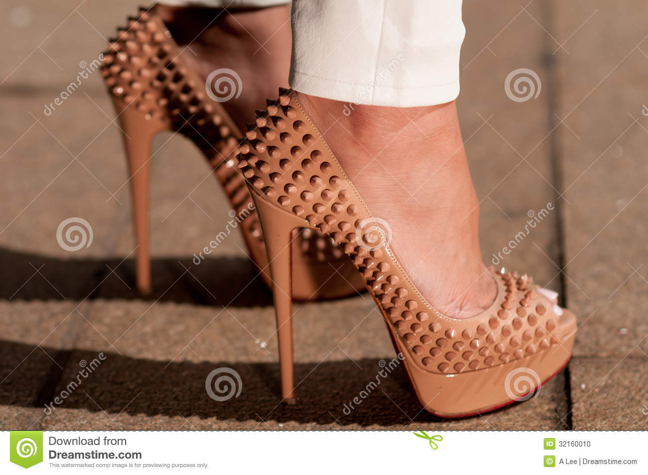 70f09a131bc Christian Louboutin 150 Mm Lady Peep Spikes Editorial Image - Image ...